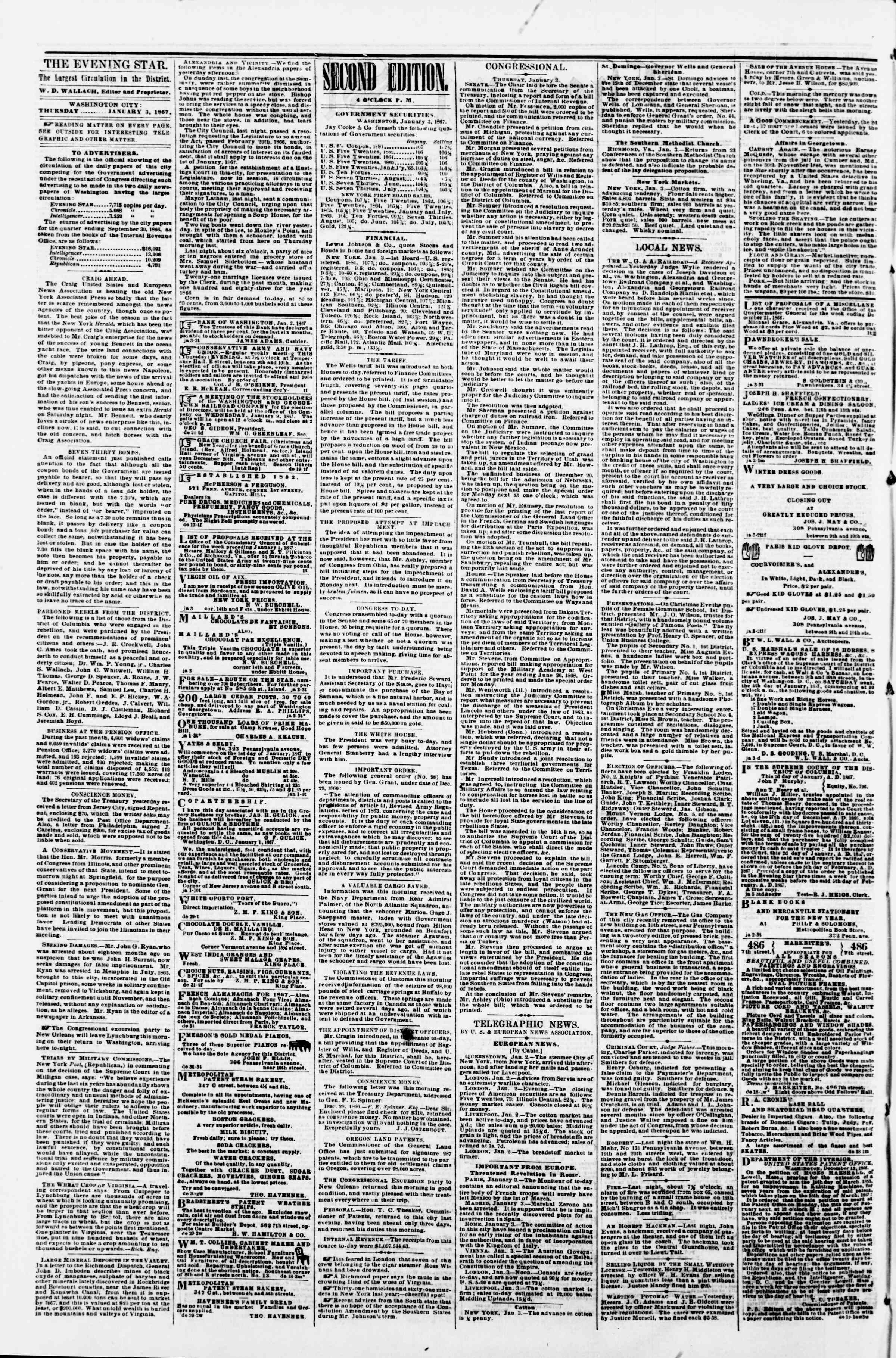 Newspaper of Evening Star dated January 3, 1867 Page 2
