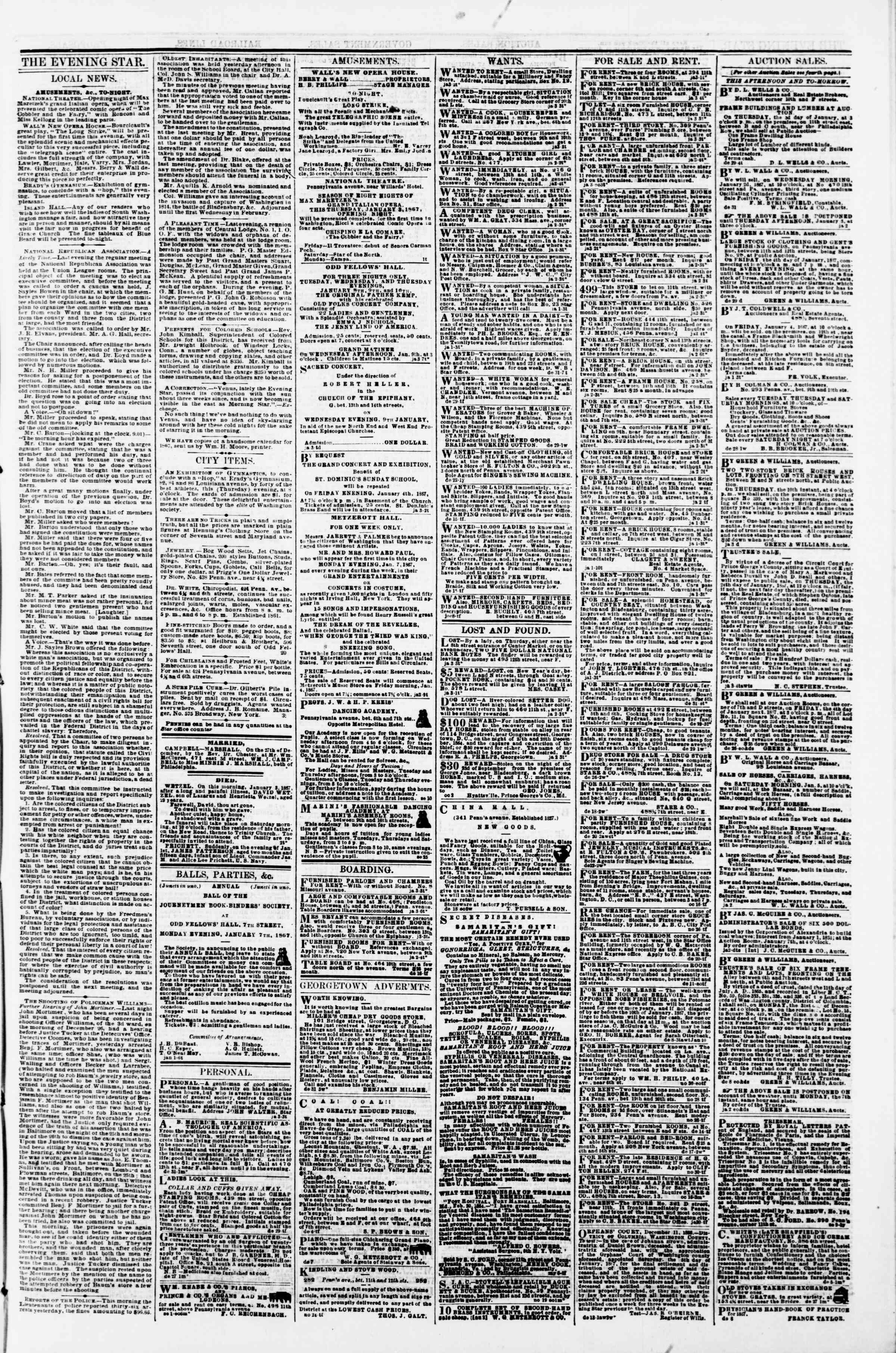 Newspaper of Evening Star dated January 3, 1867 Page 3