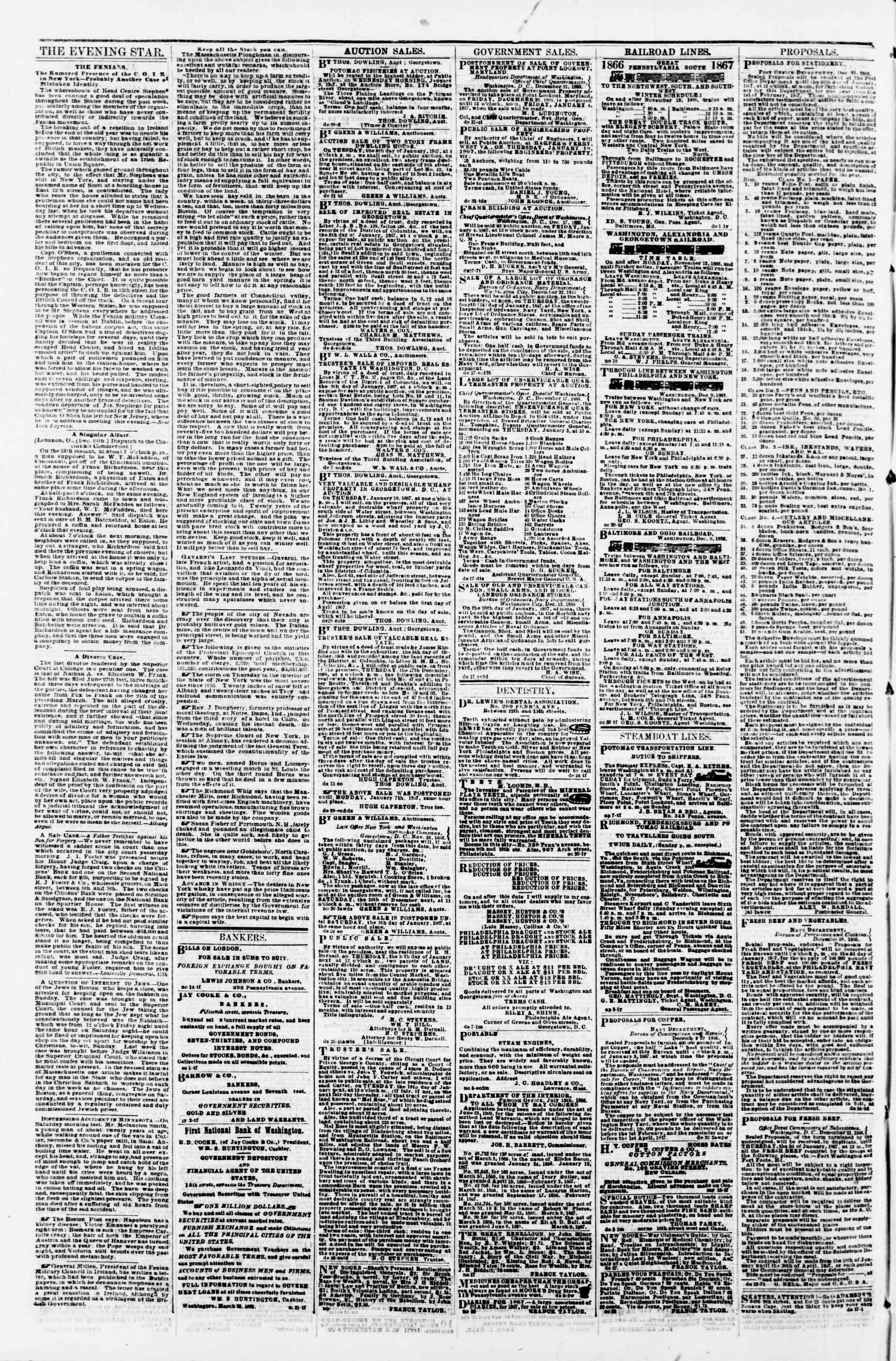 Newspaper of Evening Star dated January 3, 1867 Page 4