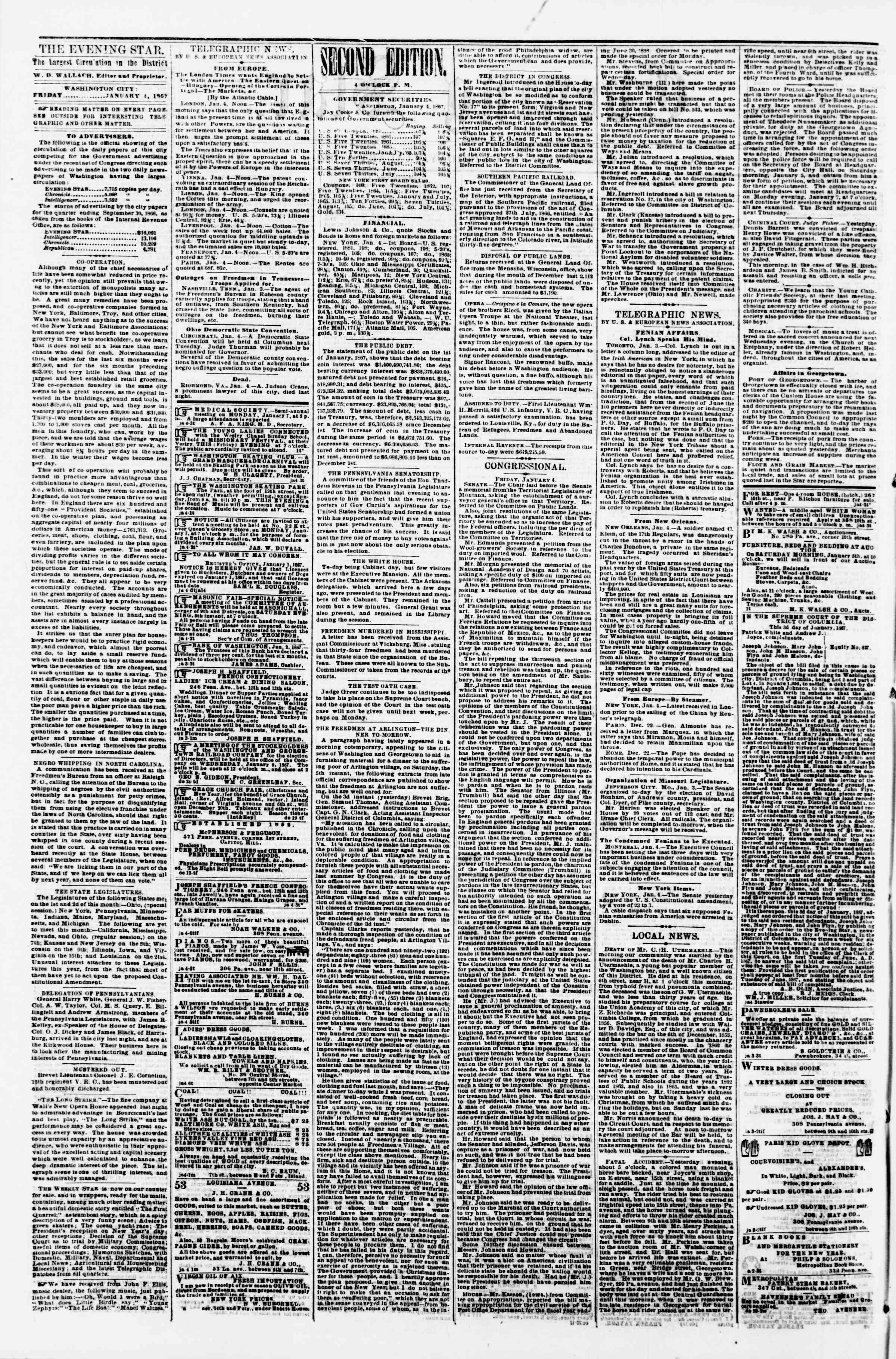 Newspaper of Evening Star dated January 4, 1867 Page 2