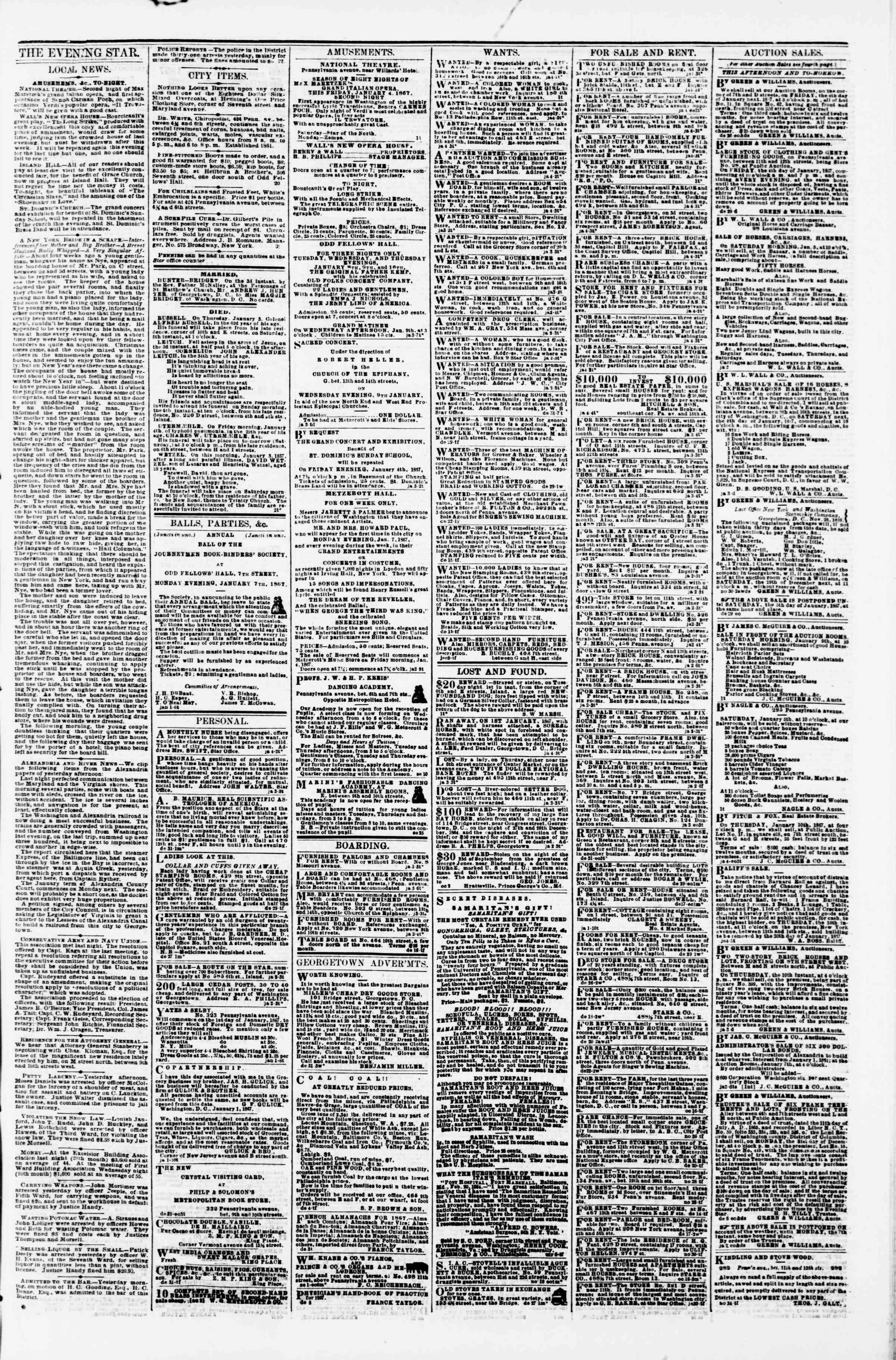Newspaper of Evening Star dated January 4, 1867 Page 3