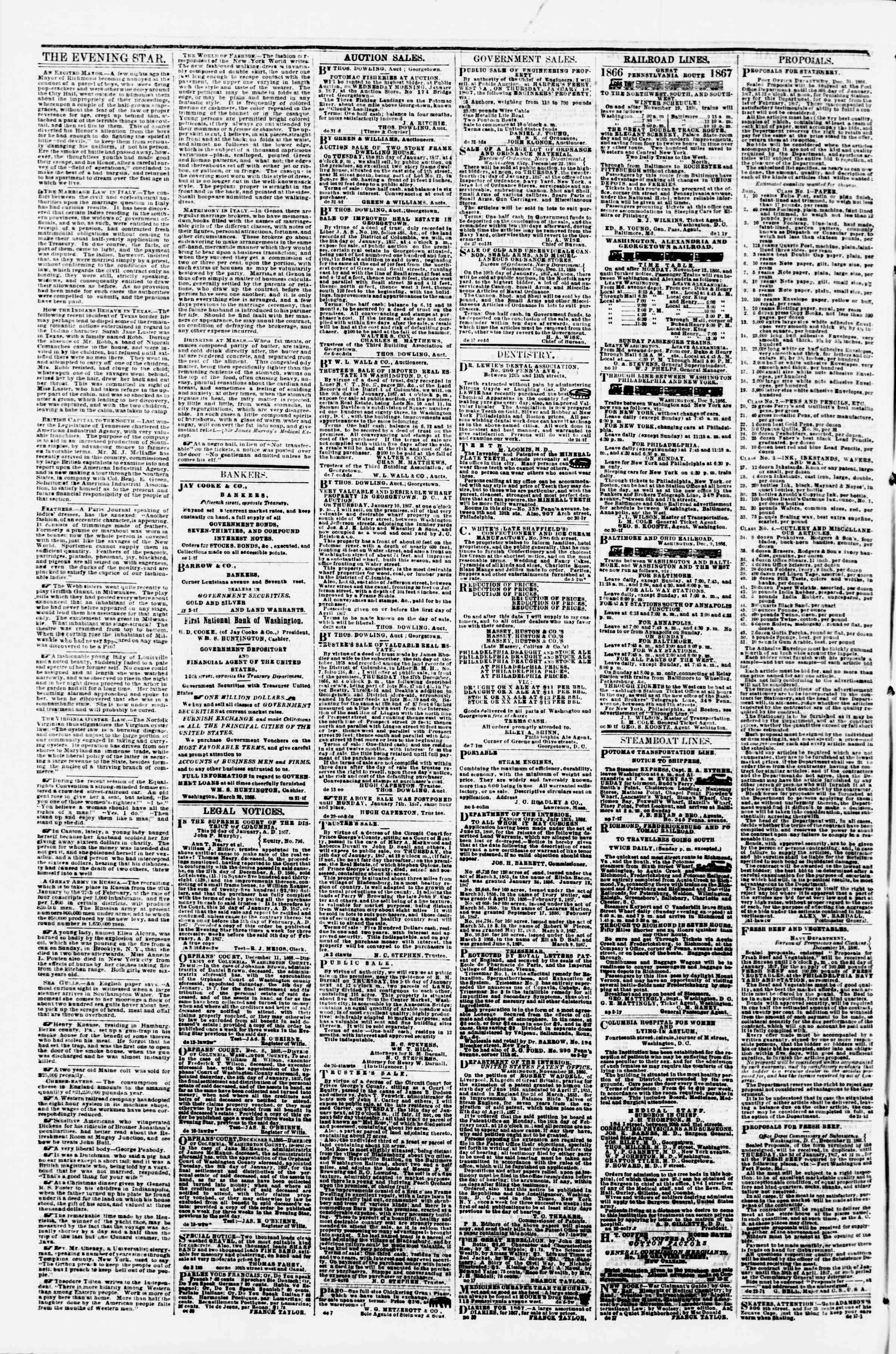 Newspaper of Evening Star dated January 4, 1867 Page 4