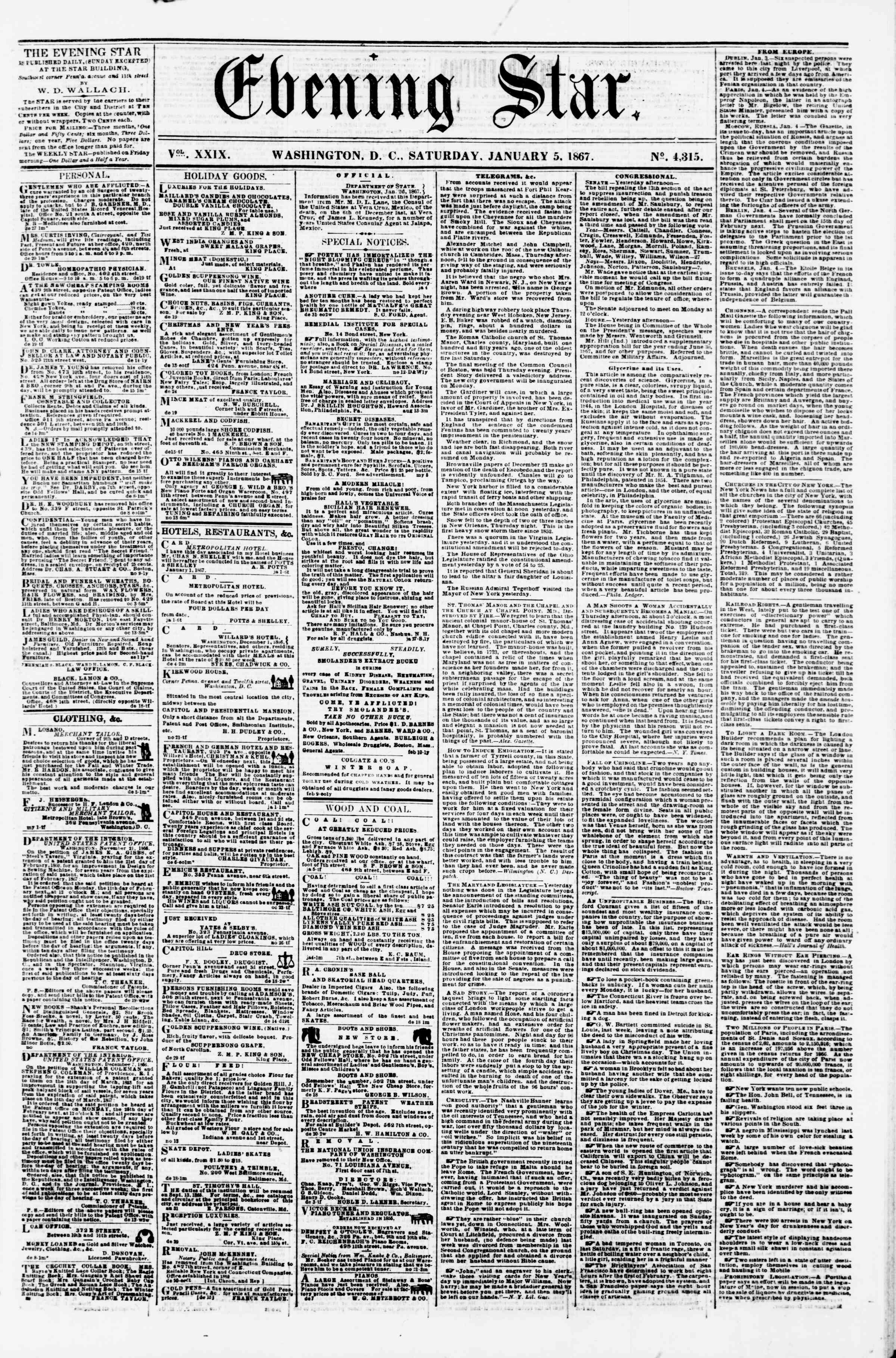 Newspaper of Evening Star dated January 5, 1867 Page 1