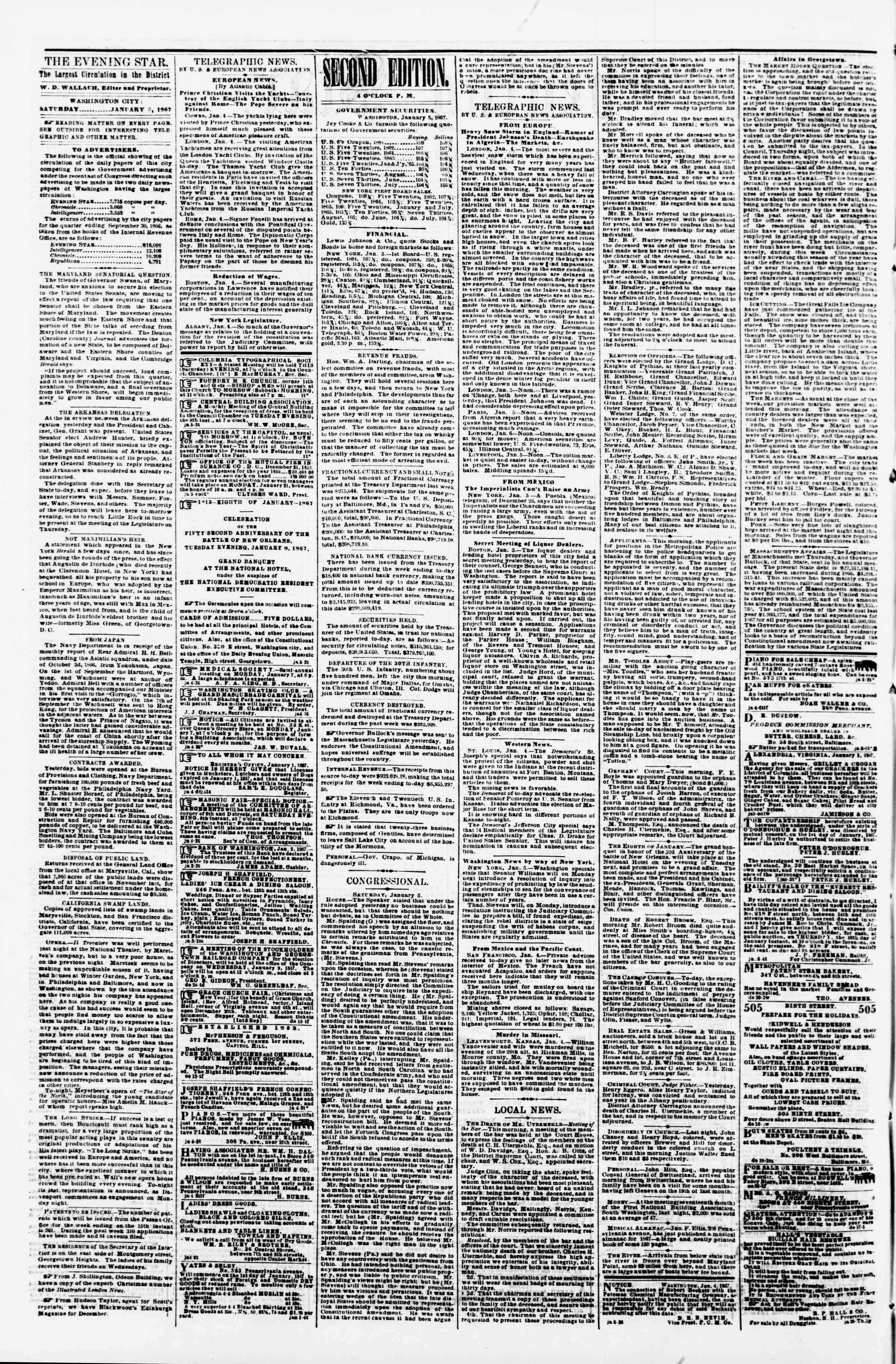 Newspaper of Evening Star dated January 5, 1867 Page 2
