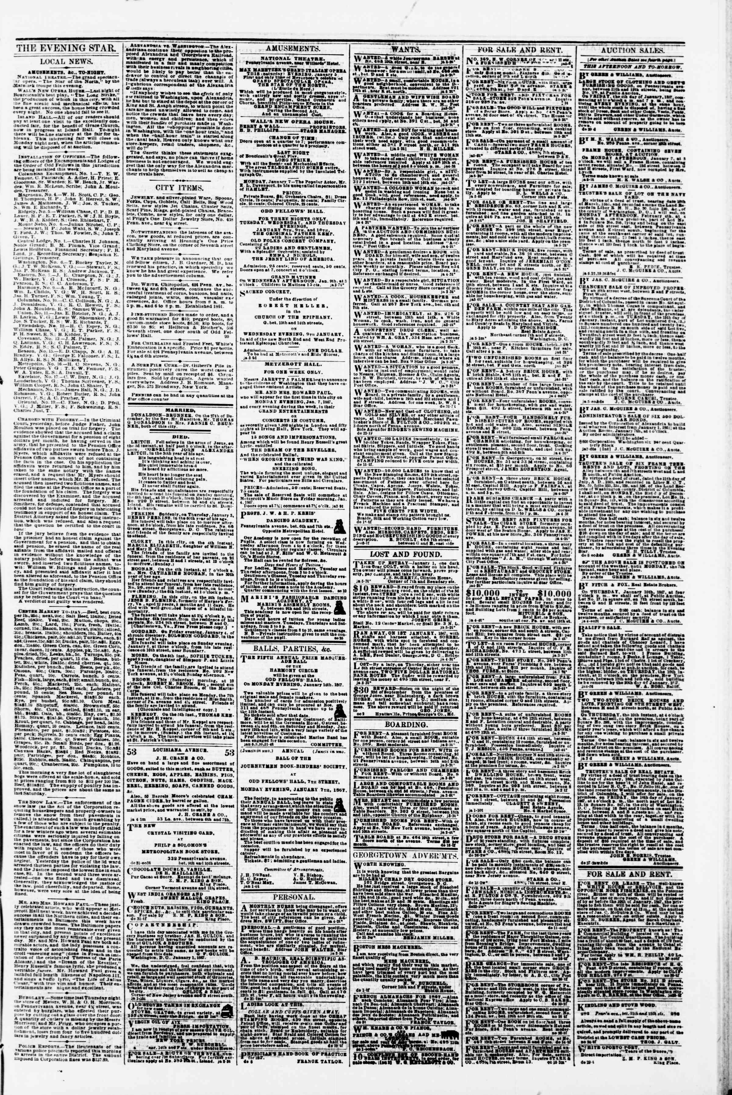 Newspaper of Evening Star dated January 5, 1867 Page 3