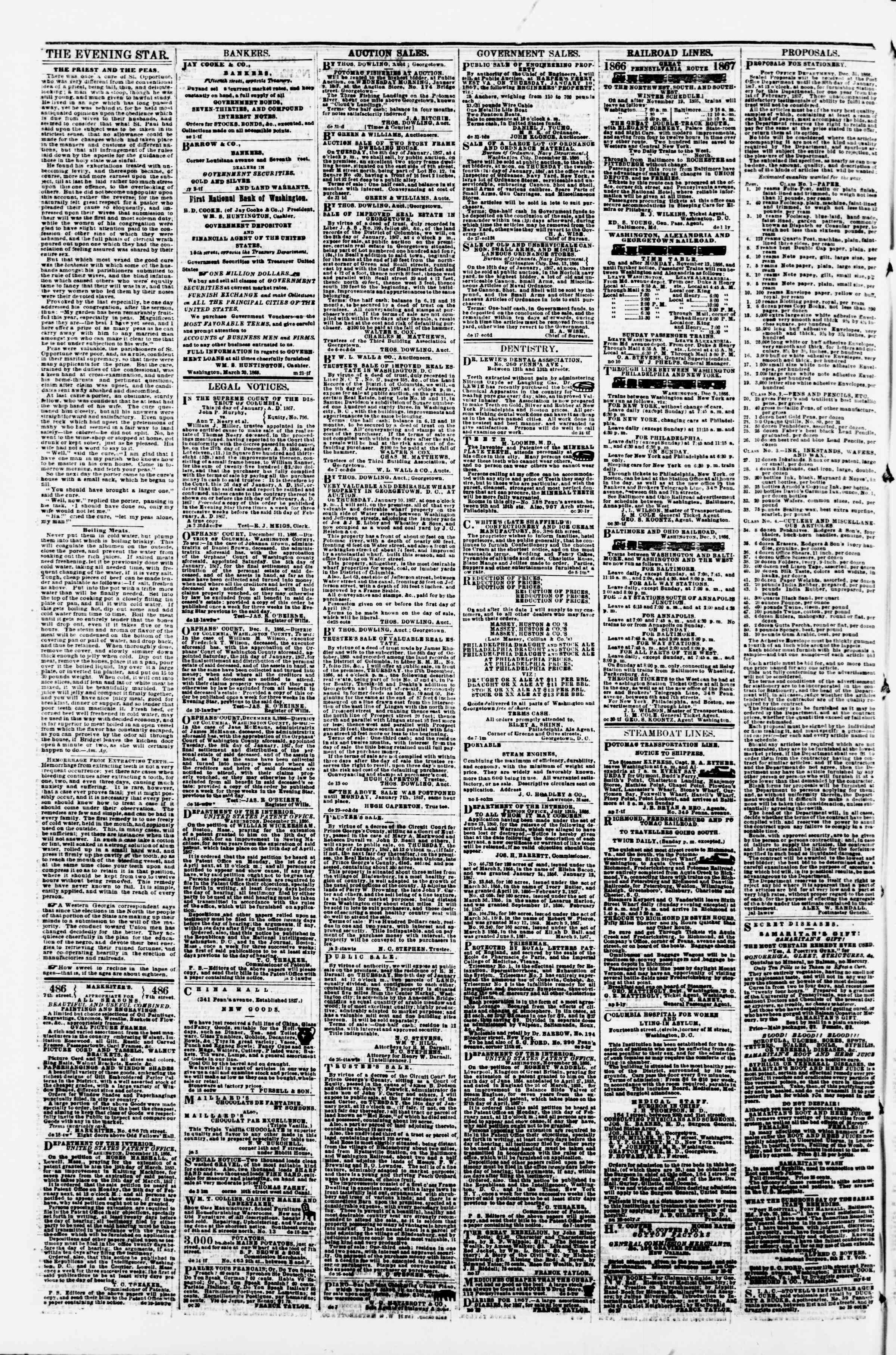 Newspaper of Evening Star dated January 5, 1867 Page 4