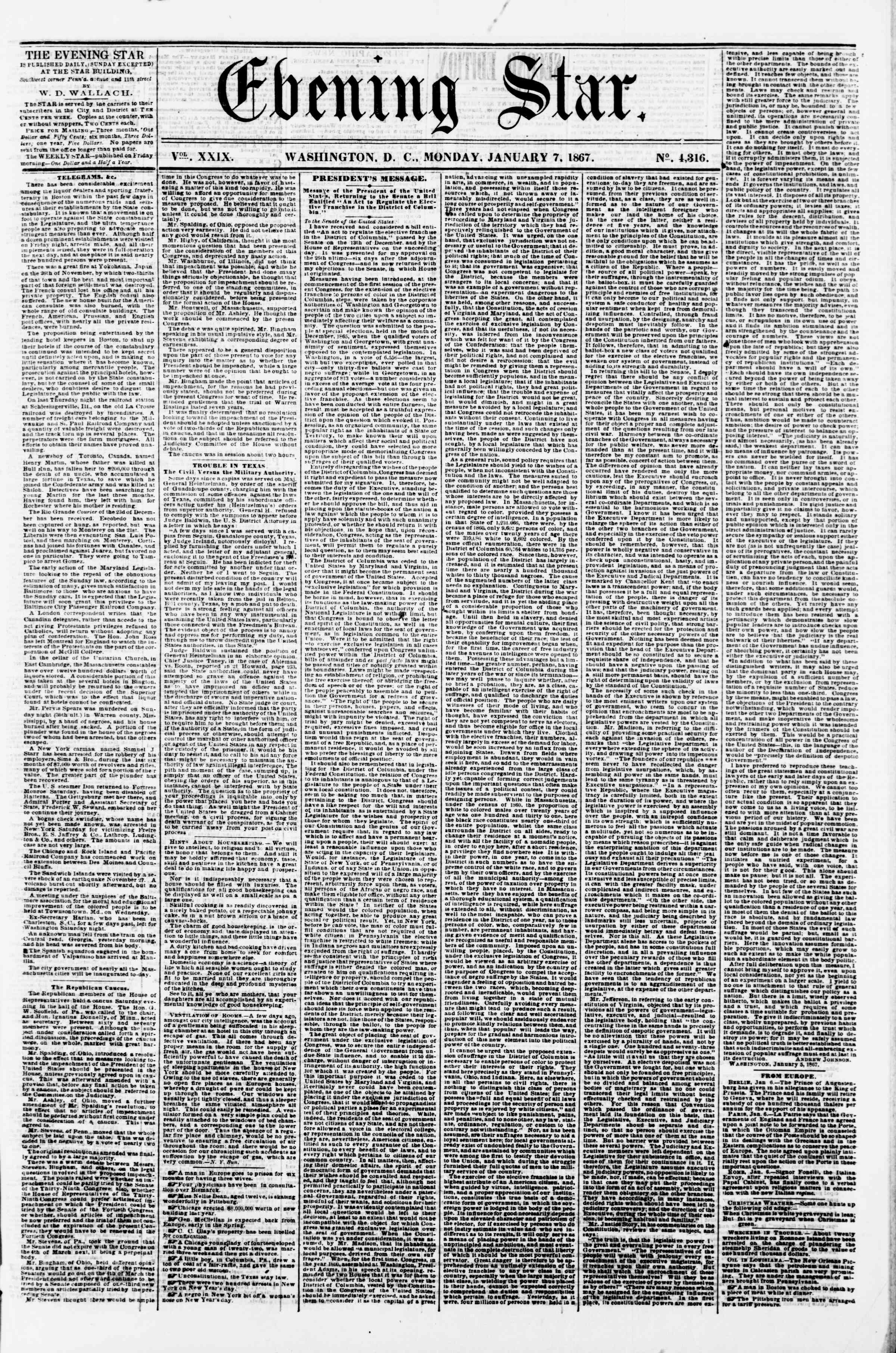 Newspaper of Evening Star dated January 7, 1867 Page 1