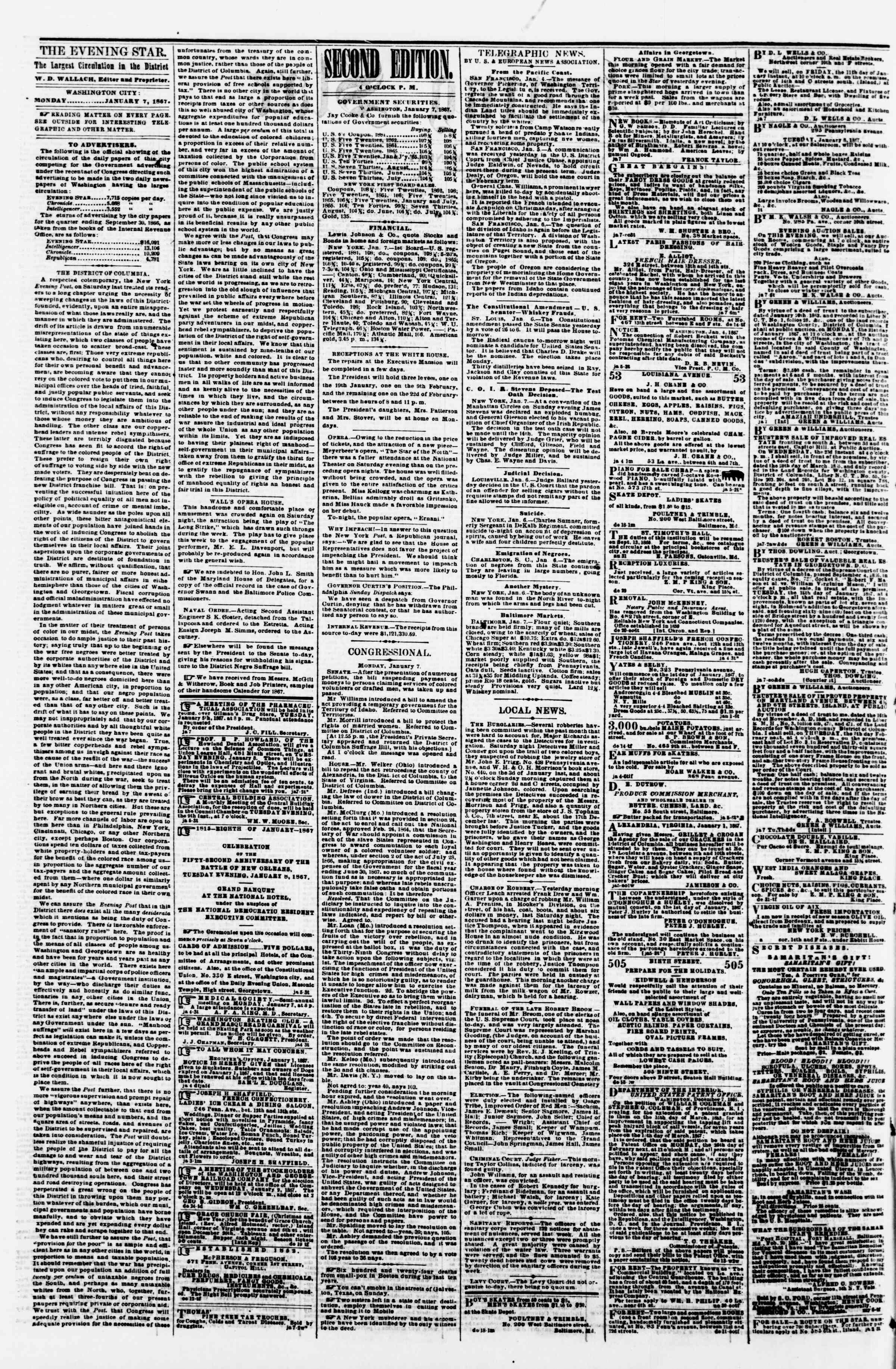 Newspaper of Evening Star dated January 7, 1867 Page 2