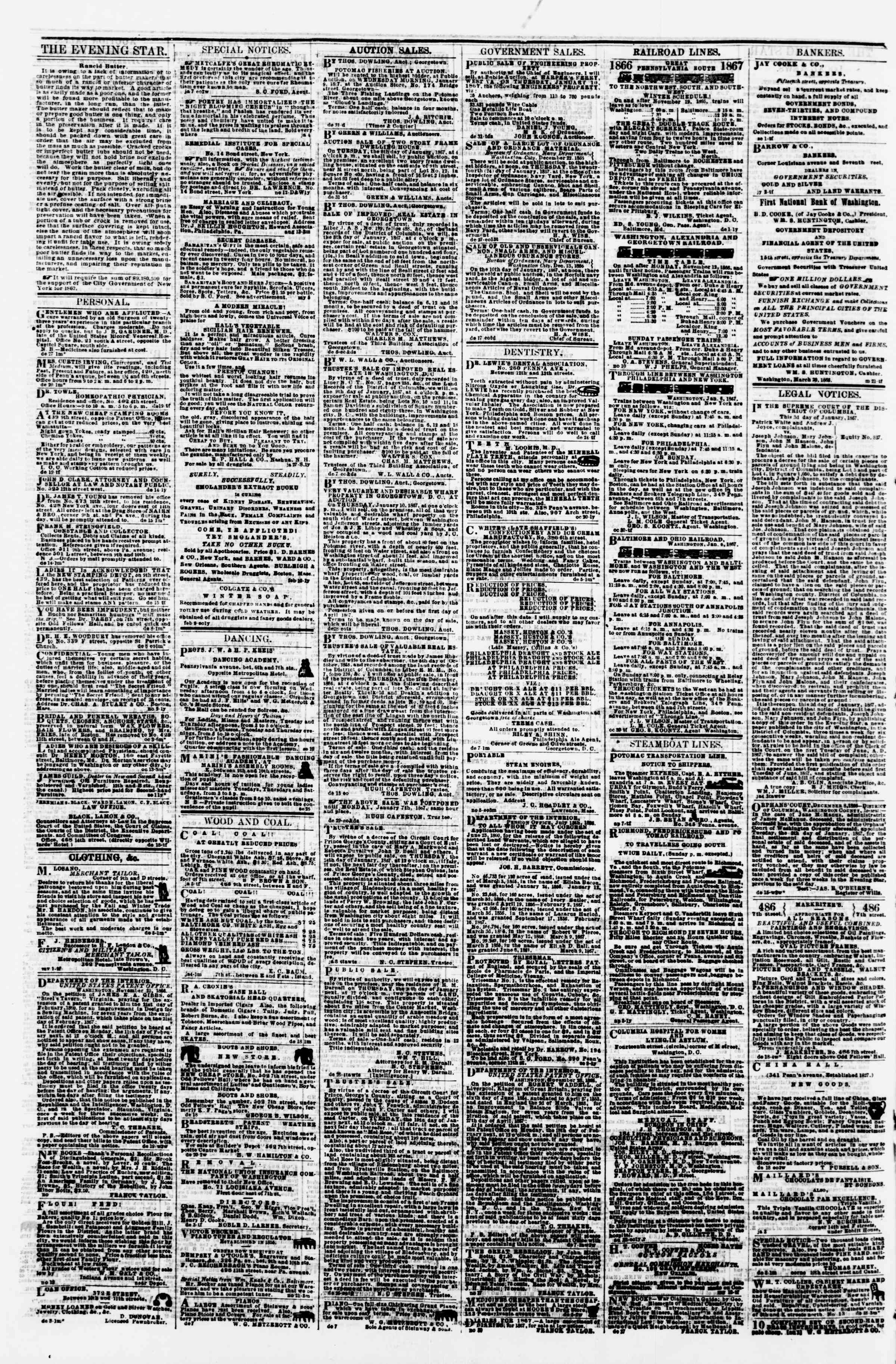 Newspaper of Evening Star dated January 7, 1867 Page 4