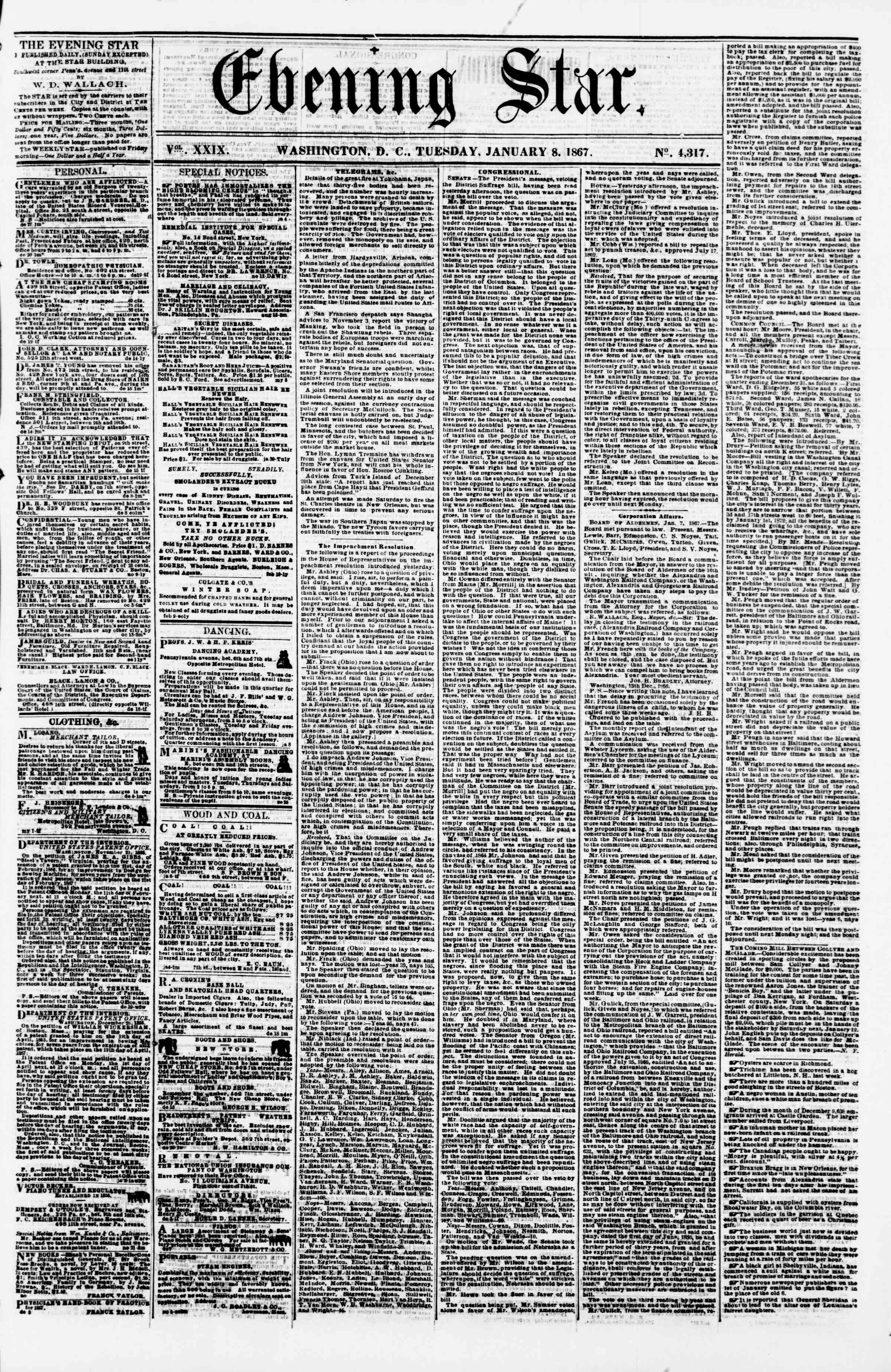 Newspaper of Evening Star dated January 8, 1867 Page 1
