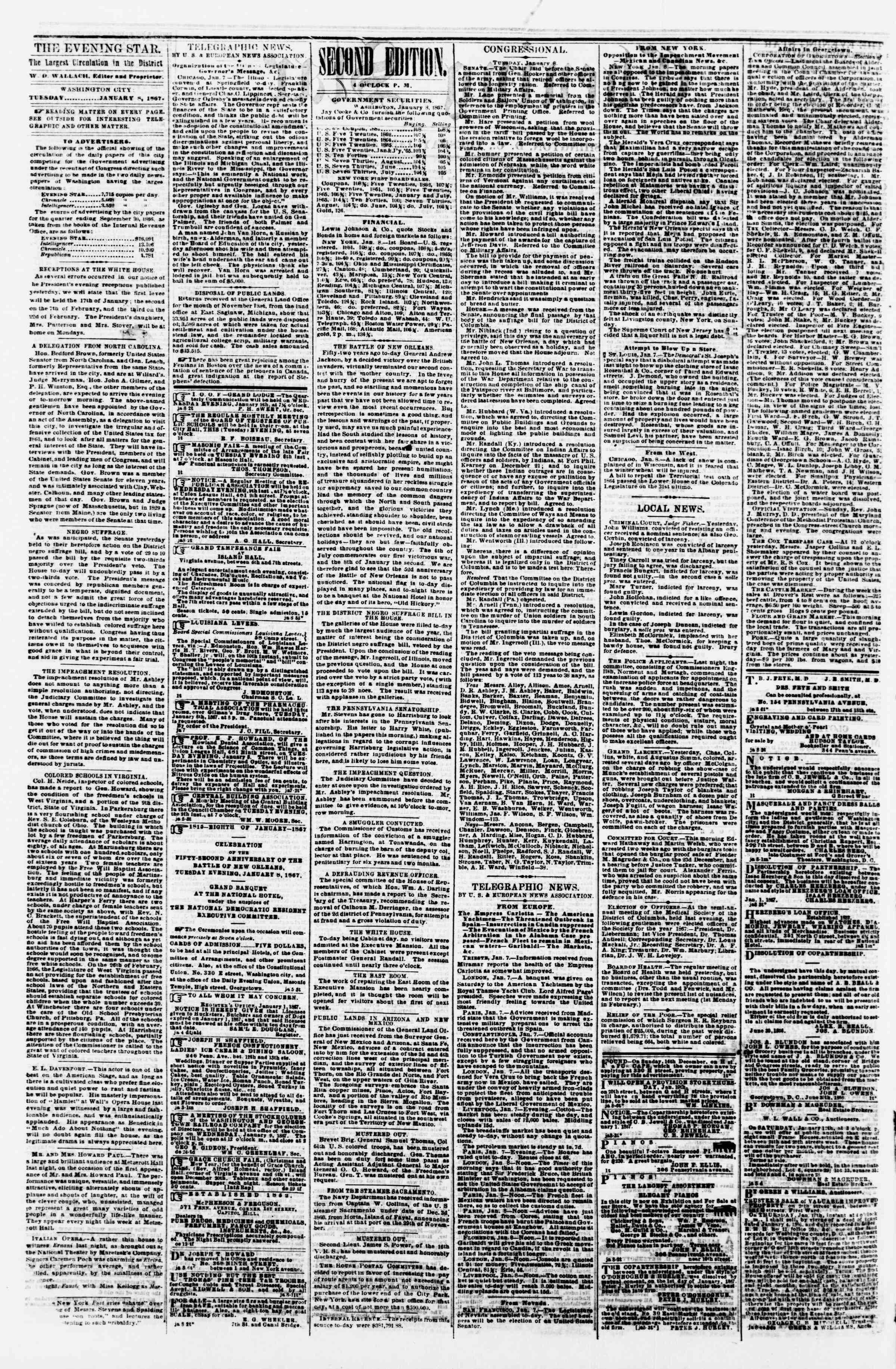 Newspaper of Evening Star dated January 8, 1867 Page 2