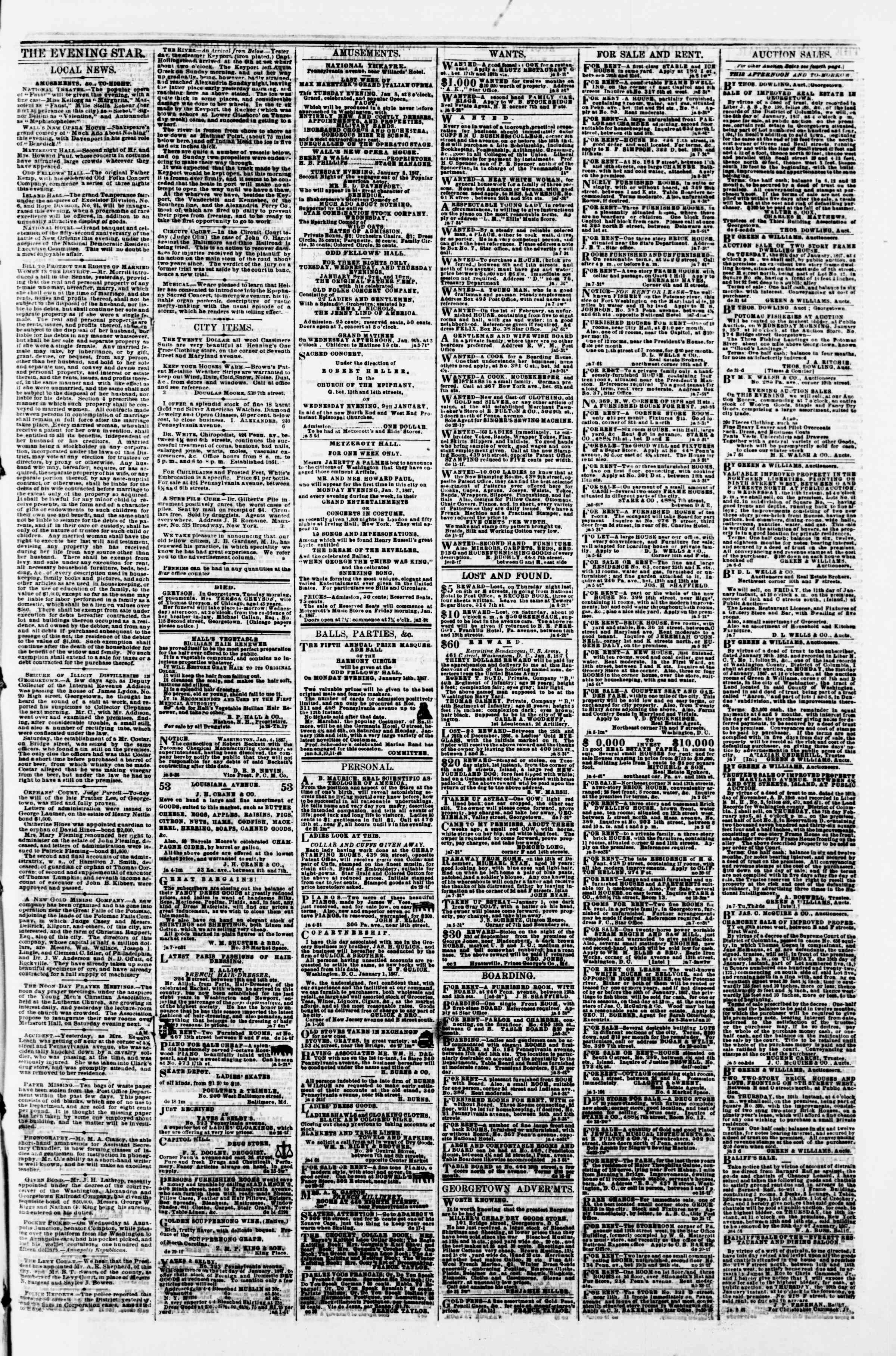 Newspaper of Evening Star dated January 8, 1867 Page 3