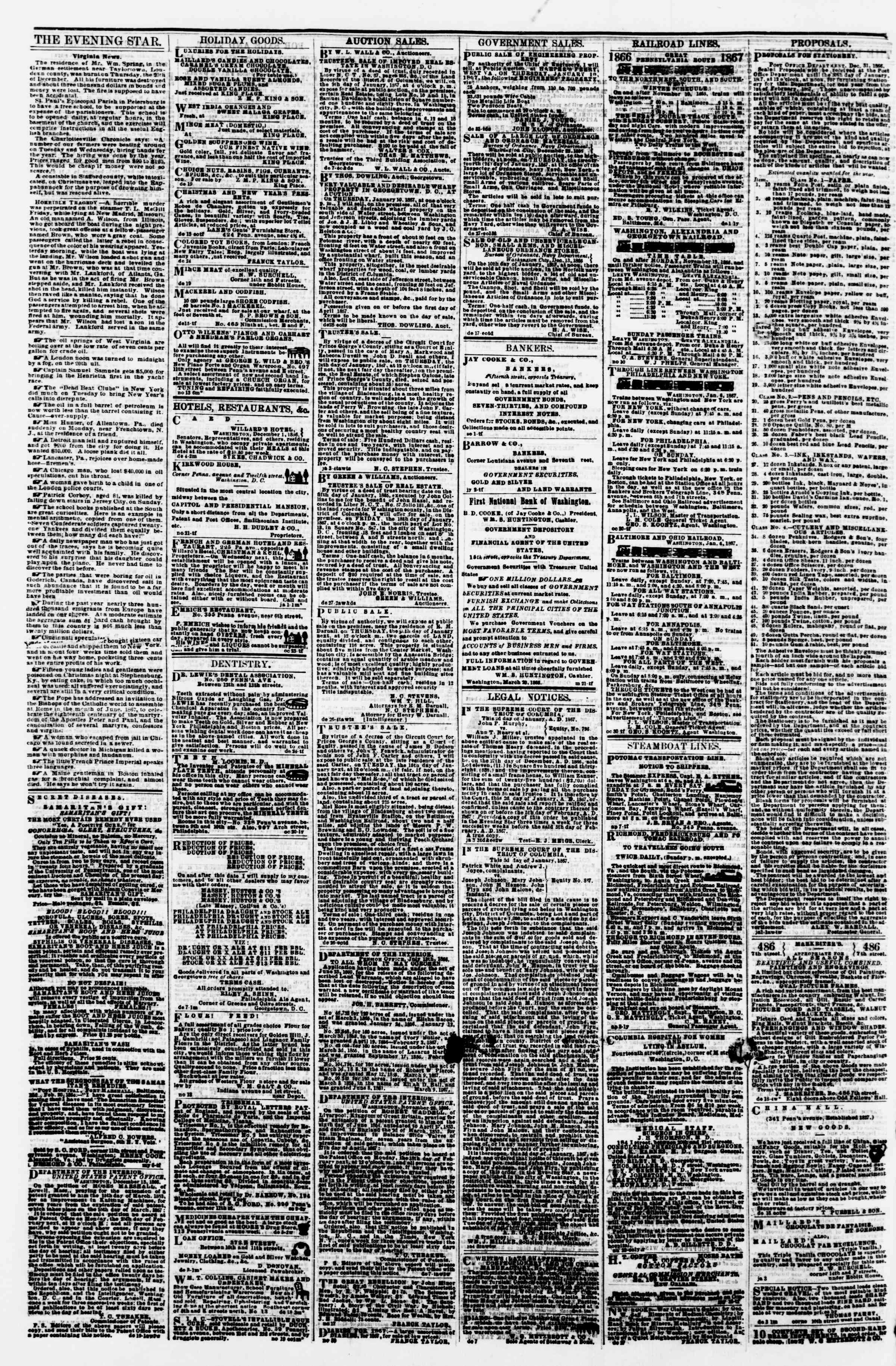 Newspaper of Evening Star dated January 8, 1867 Page 4