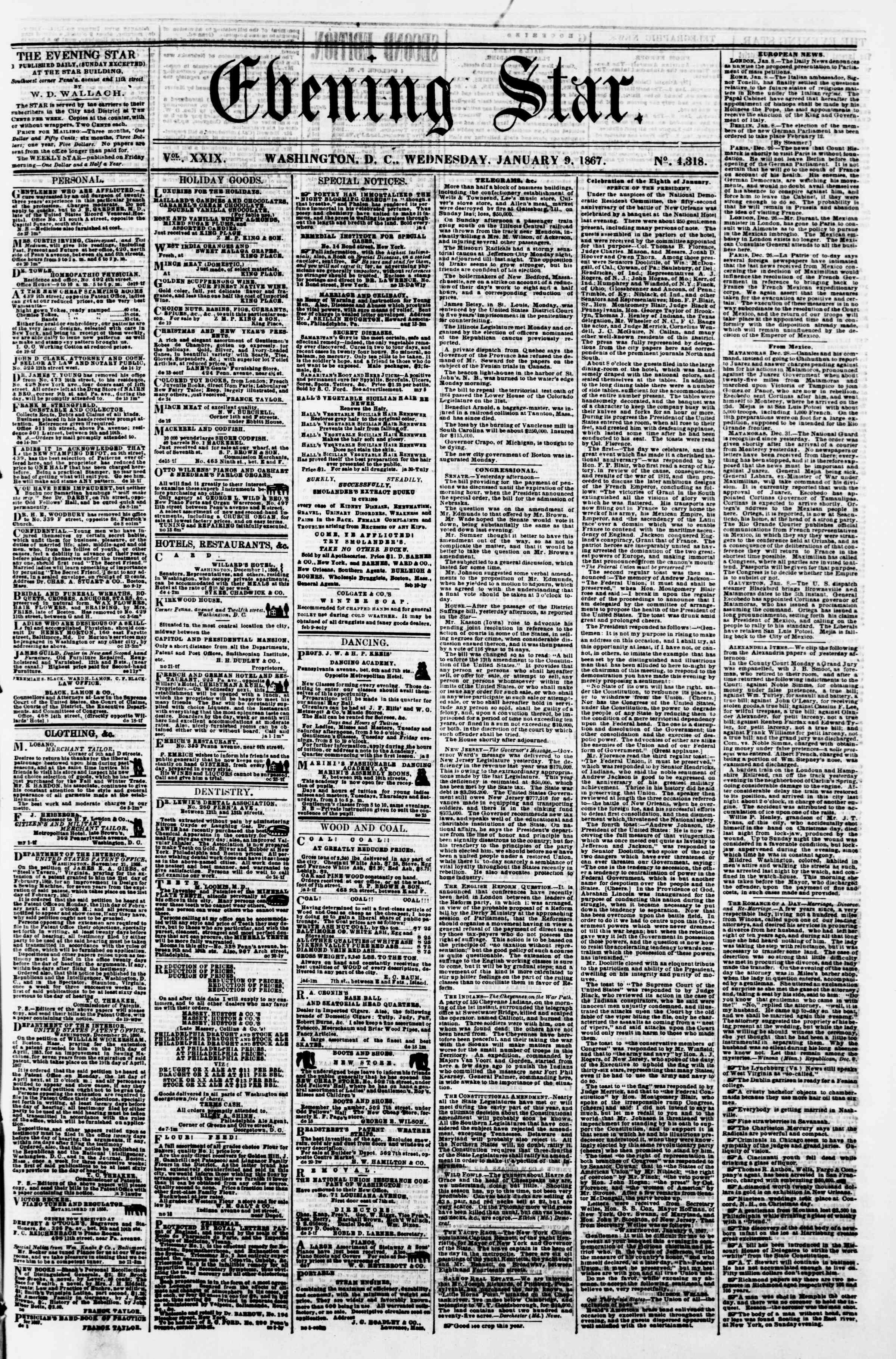 Newspaper of Evening Star dated January 9, 1867 Page 1