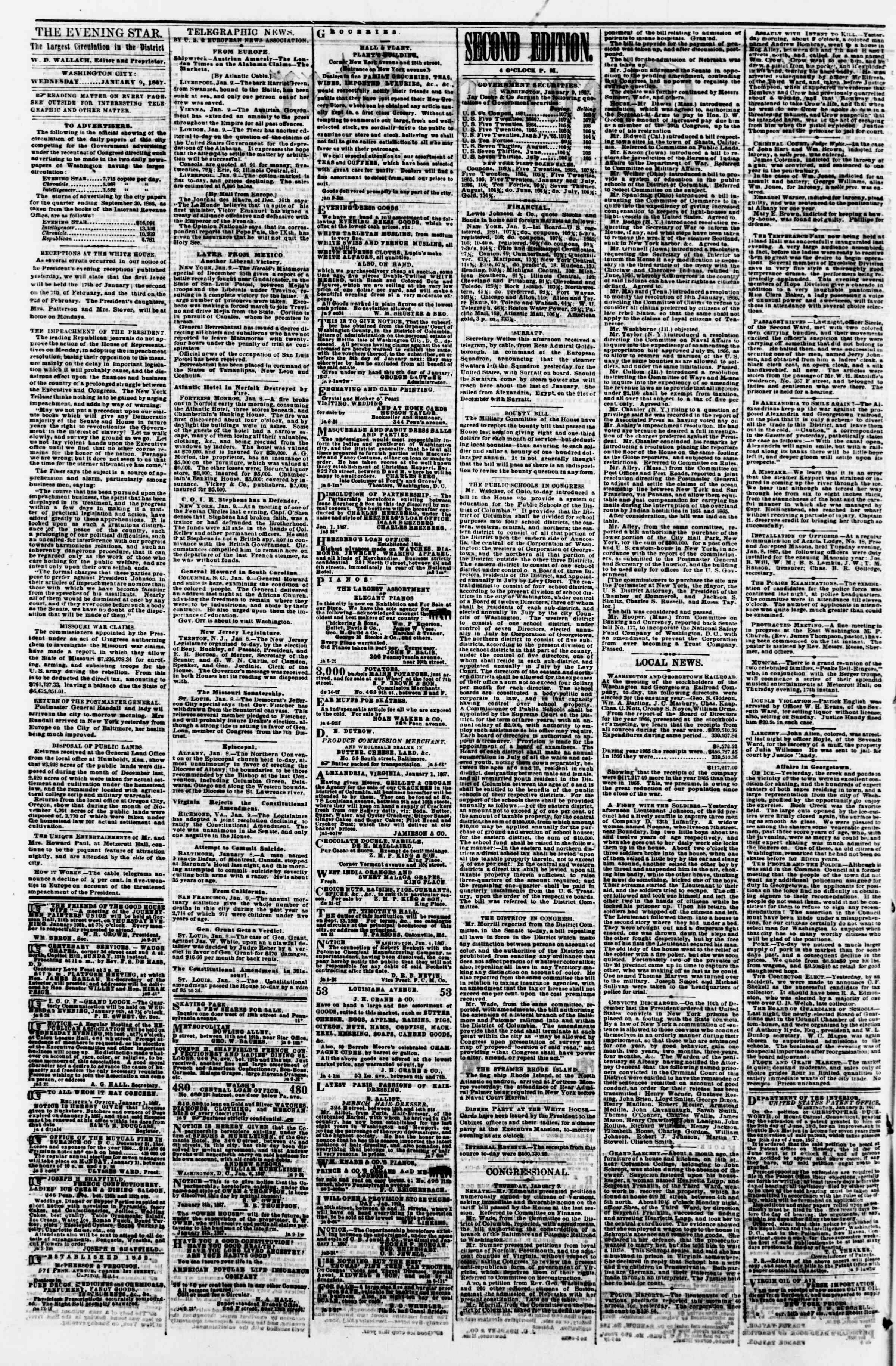 Newspaper of Evening Star dated January 9, 1867 Page 2