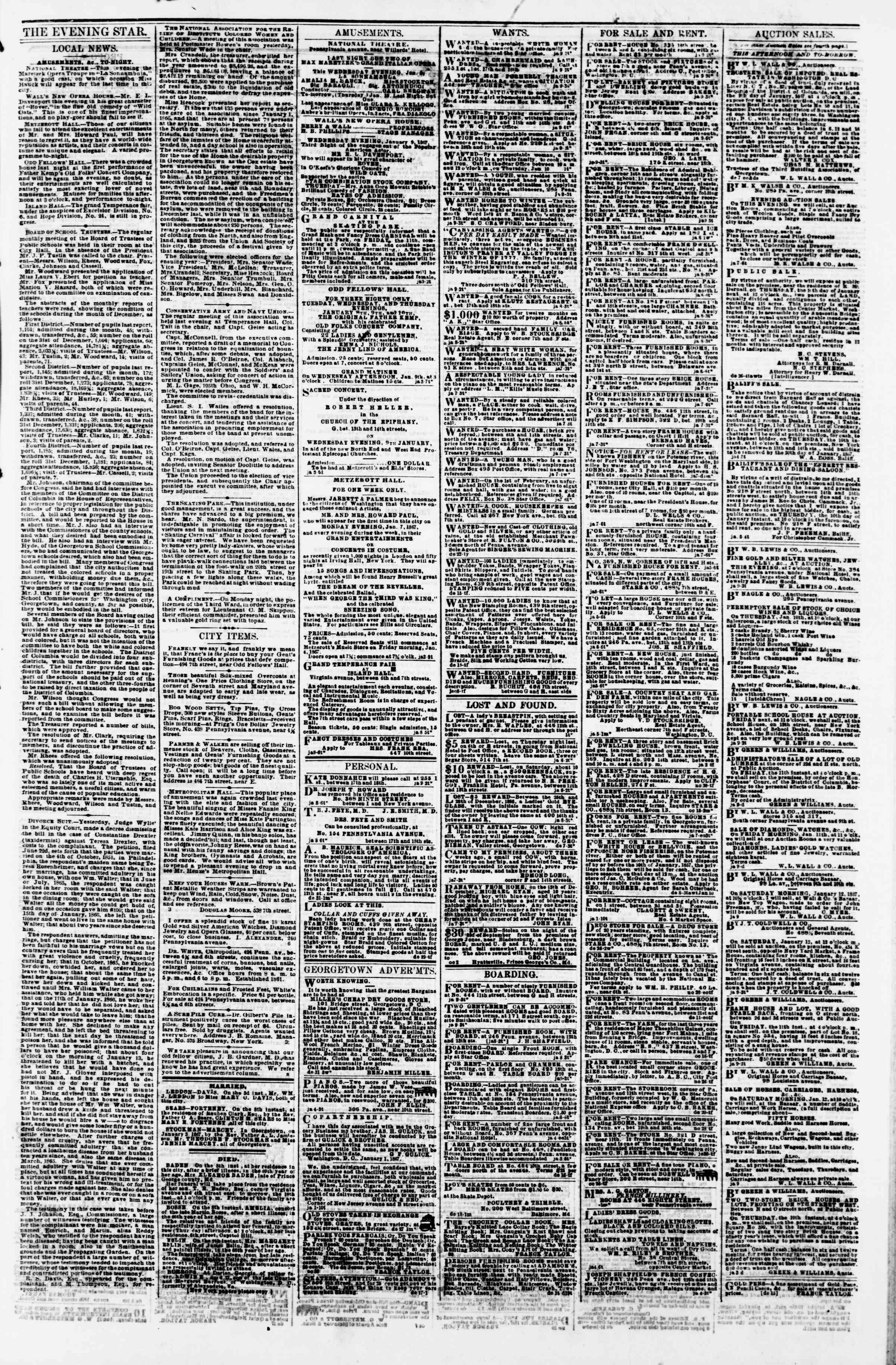 Newspaper of Evening Star dated January 9, 1867 Page 3