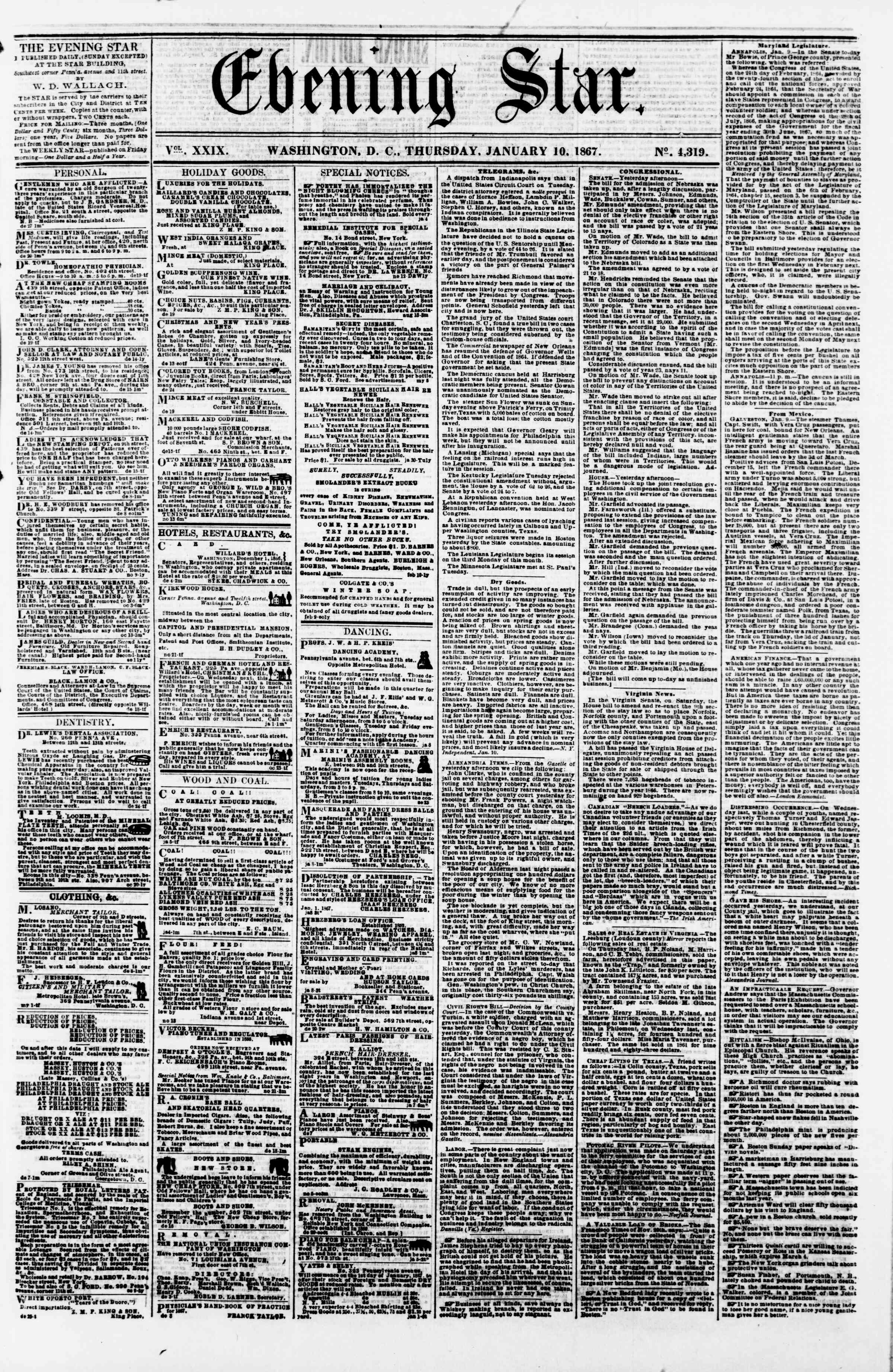 Newspaper of Evening Star dated January 10, 1867 Page 1