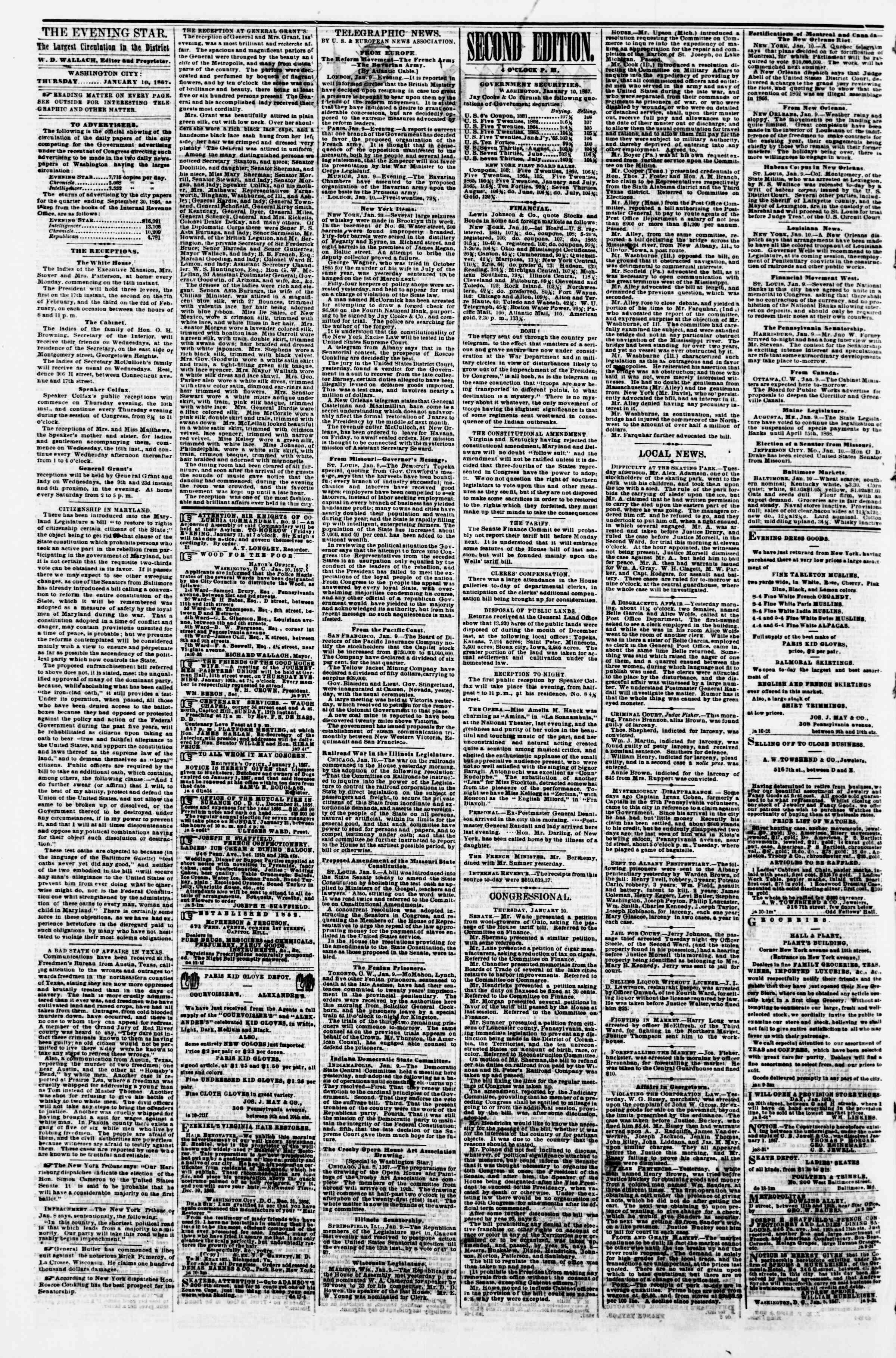 Newspaper of Evening Star dated January 10, 1867 Page 2