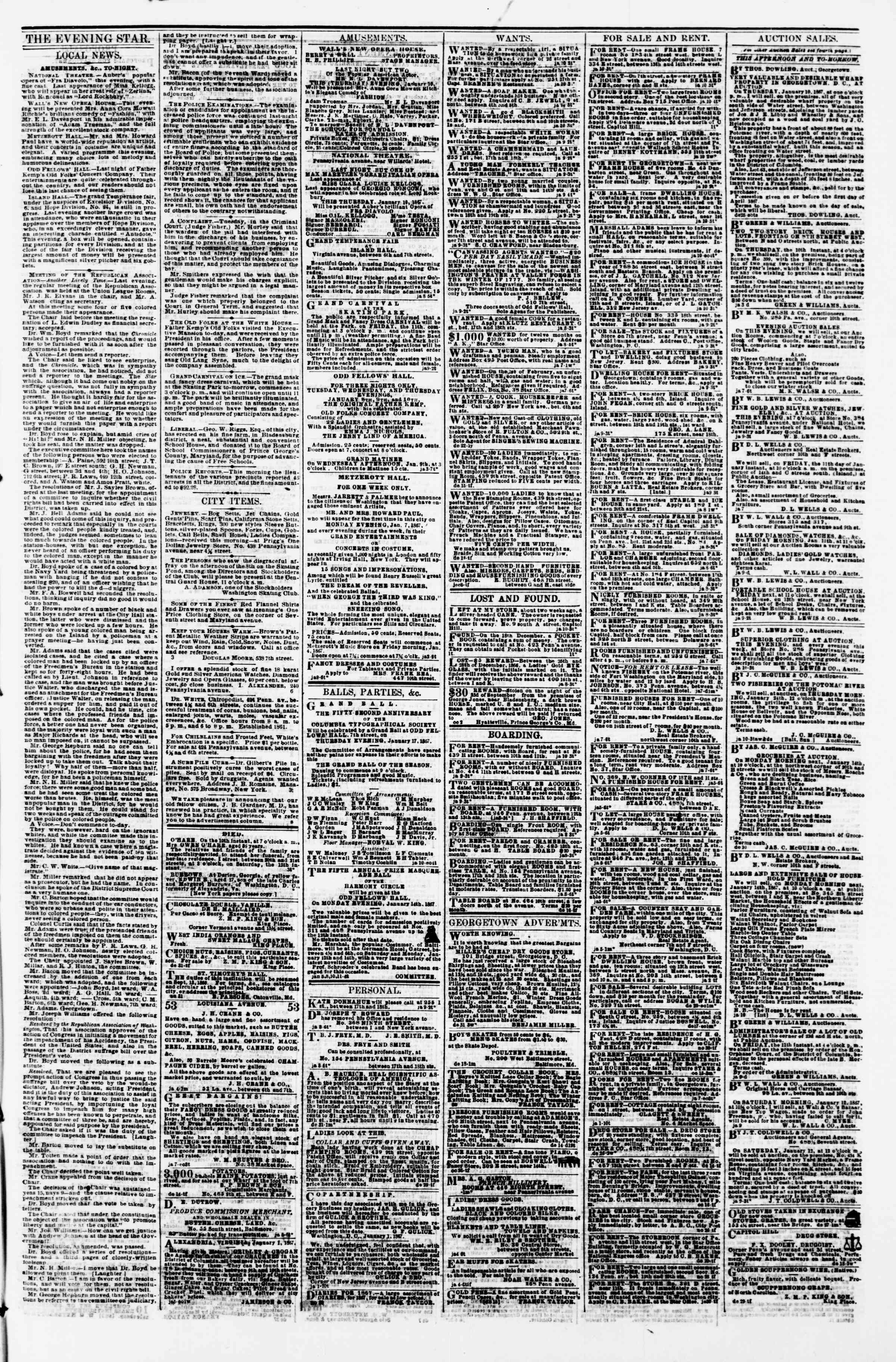 Newspaper of Evening Star dated January 10, 1867 Page 3