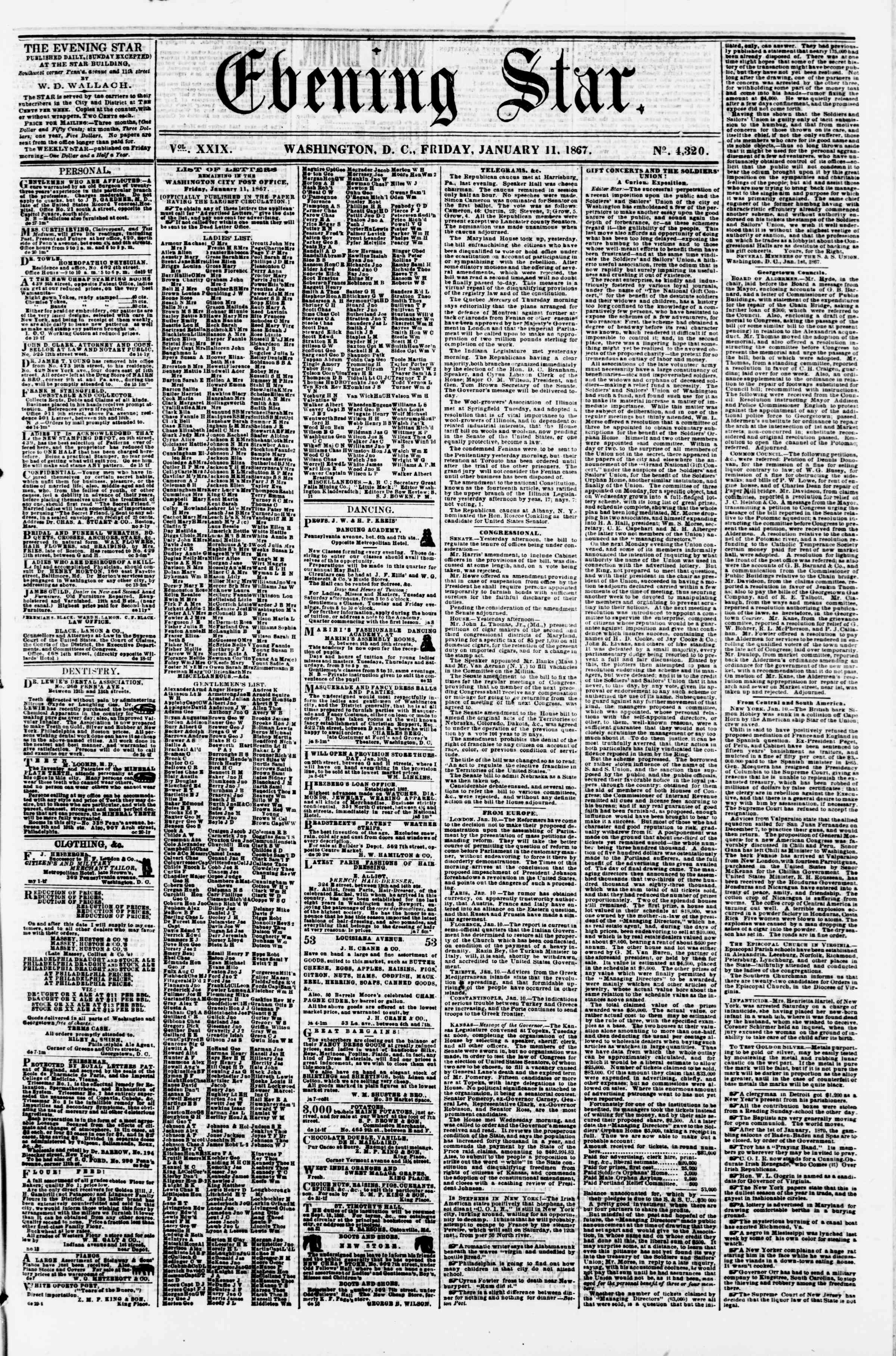 Newspaper of Evening Star dated January 11, 1867 Page 1
