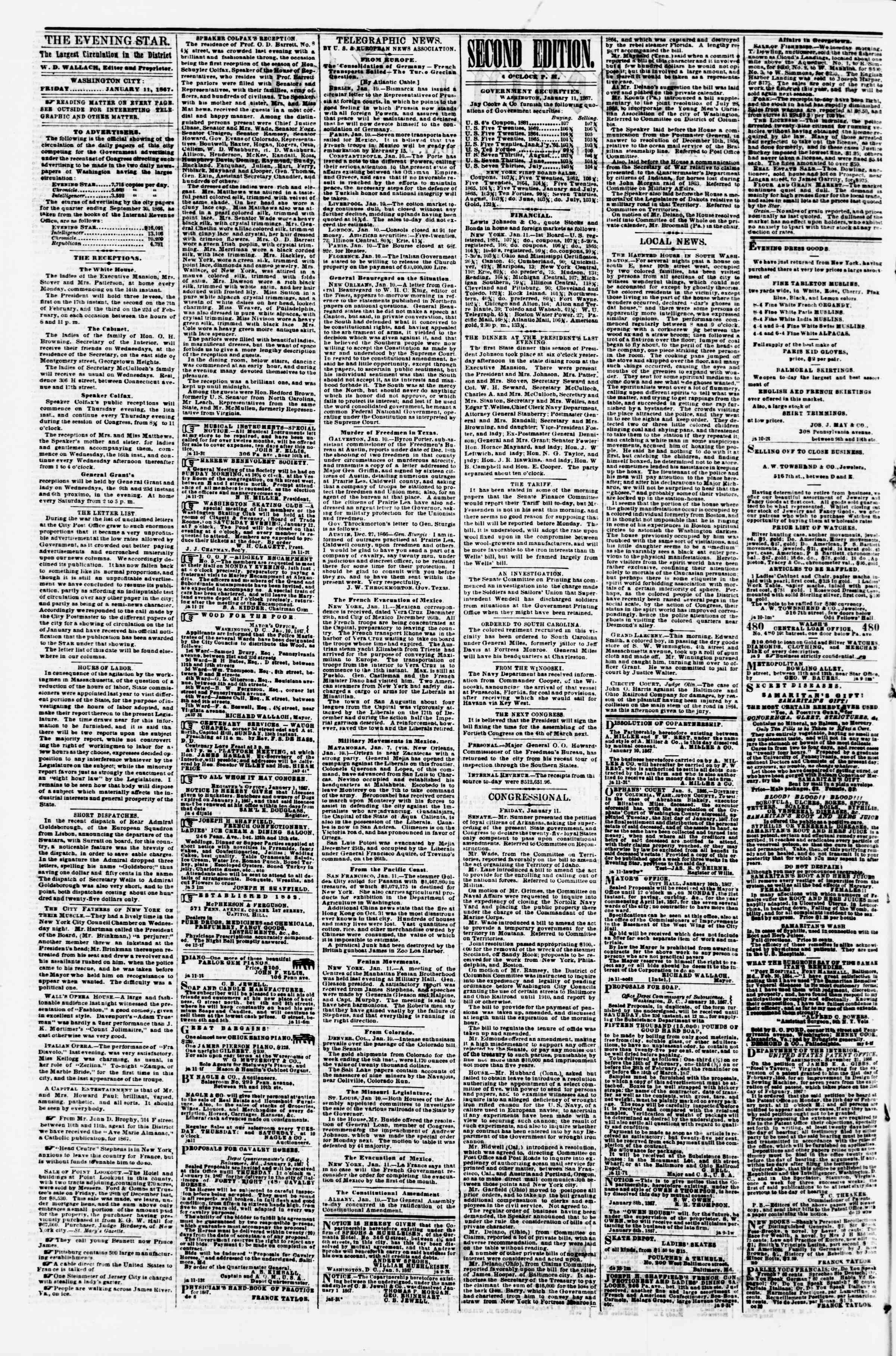 Newspaper of Evening Star dated January 11, 1867 Page 2