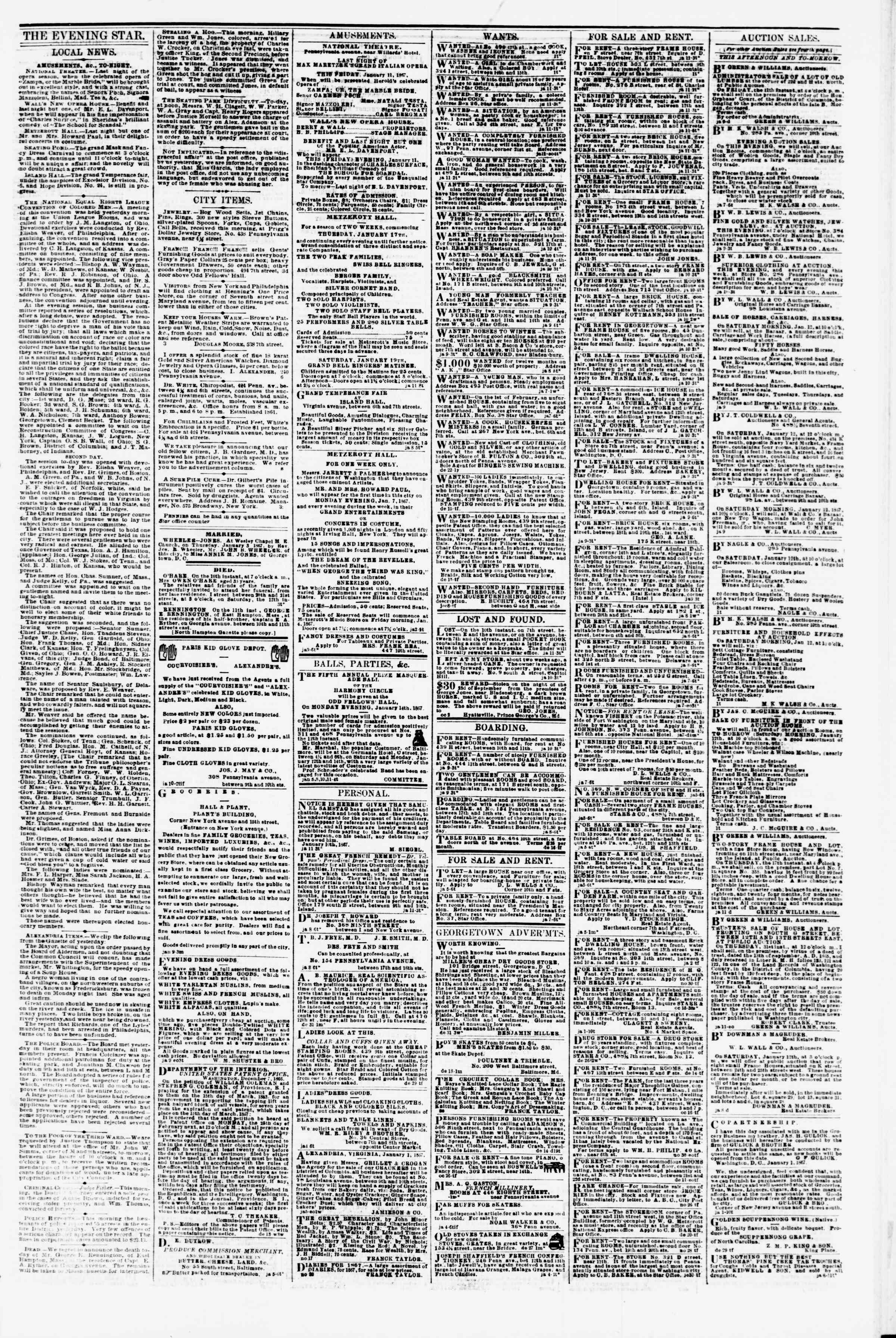 Newspaper of Evening Star dated January 11, 1867 Page 3