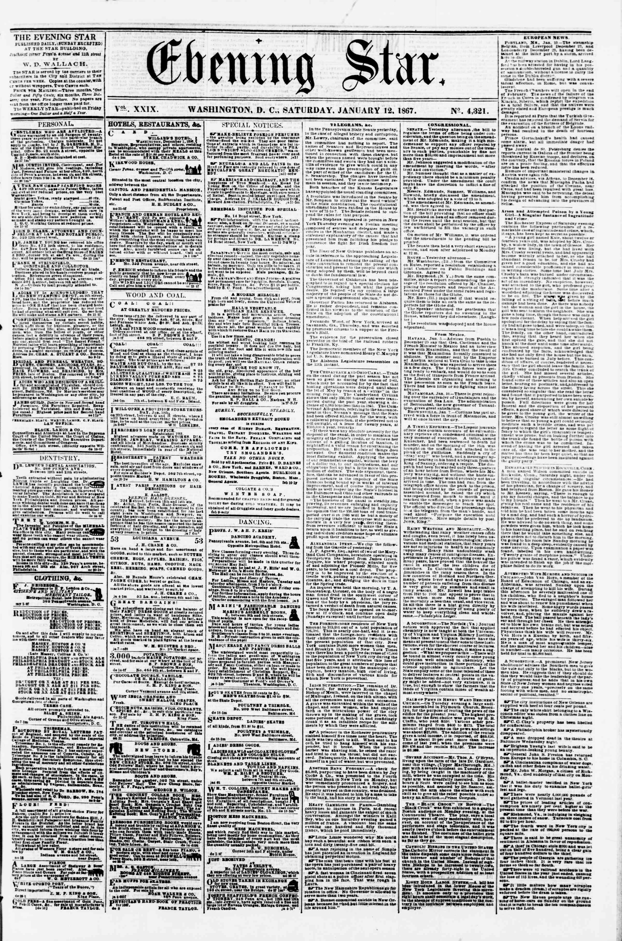 Newspaper of Evening Star dated January 12, 1867 Page 1