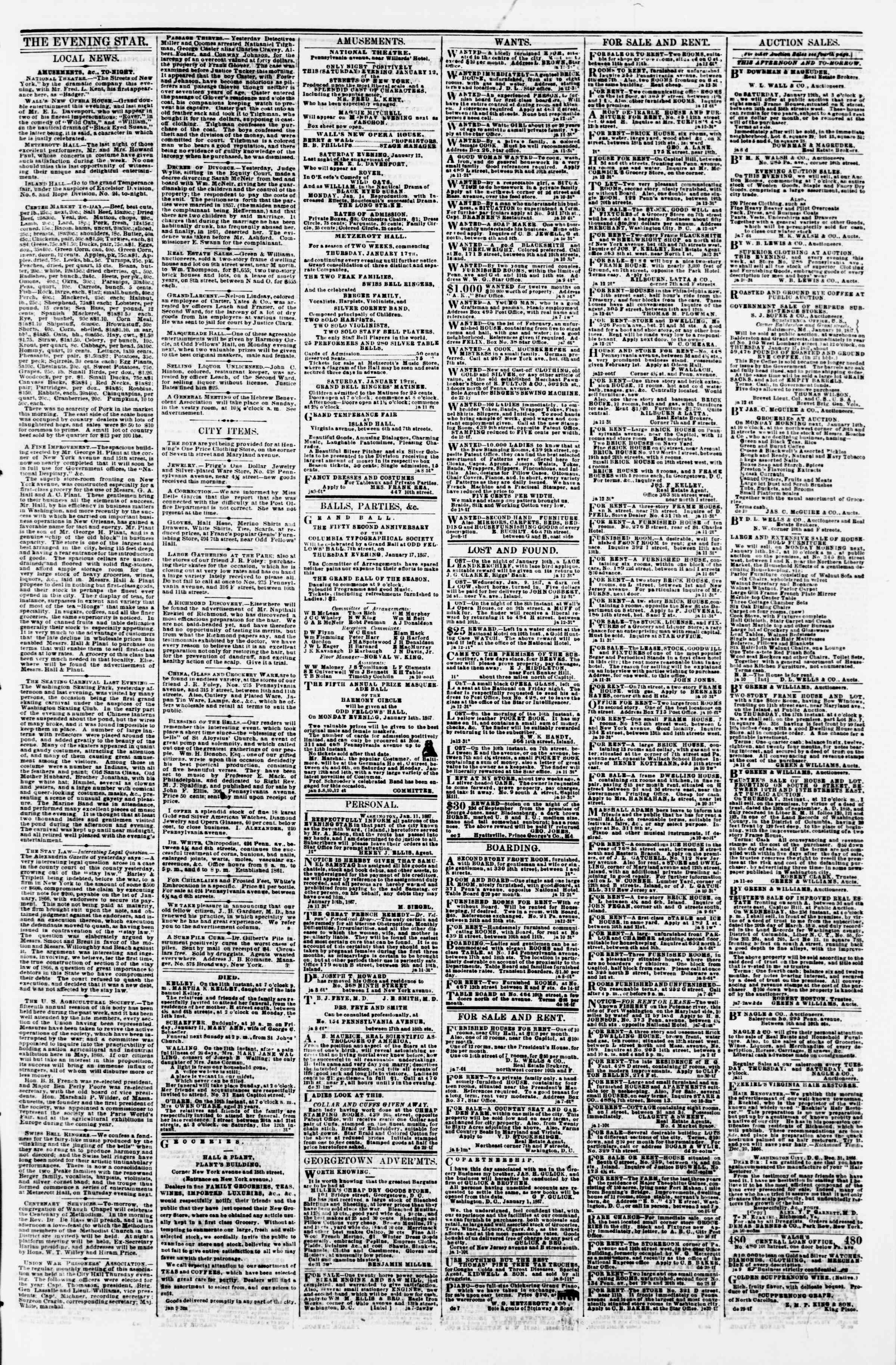 Newspaper of Evening Star dated January 12, 1867 Page 3