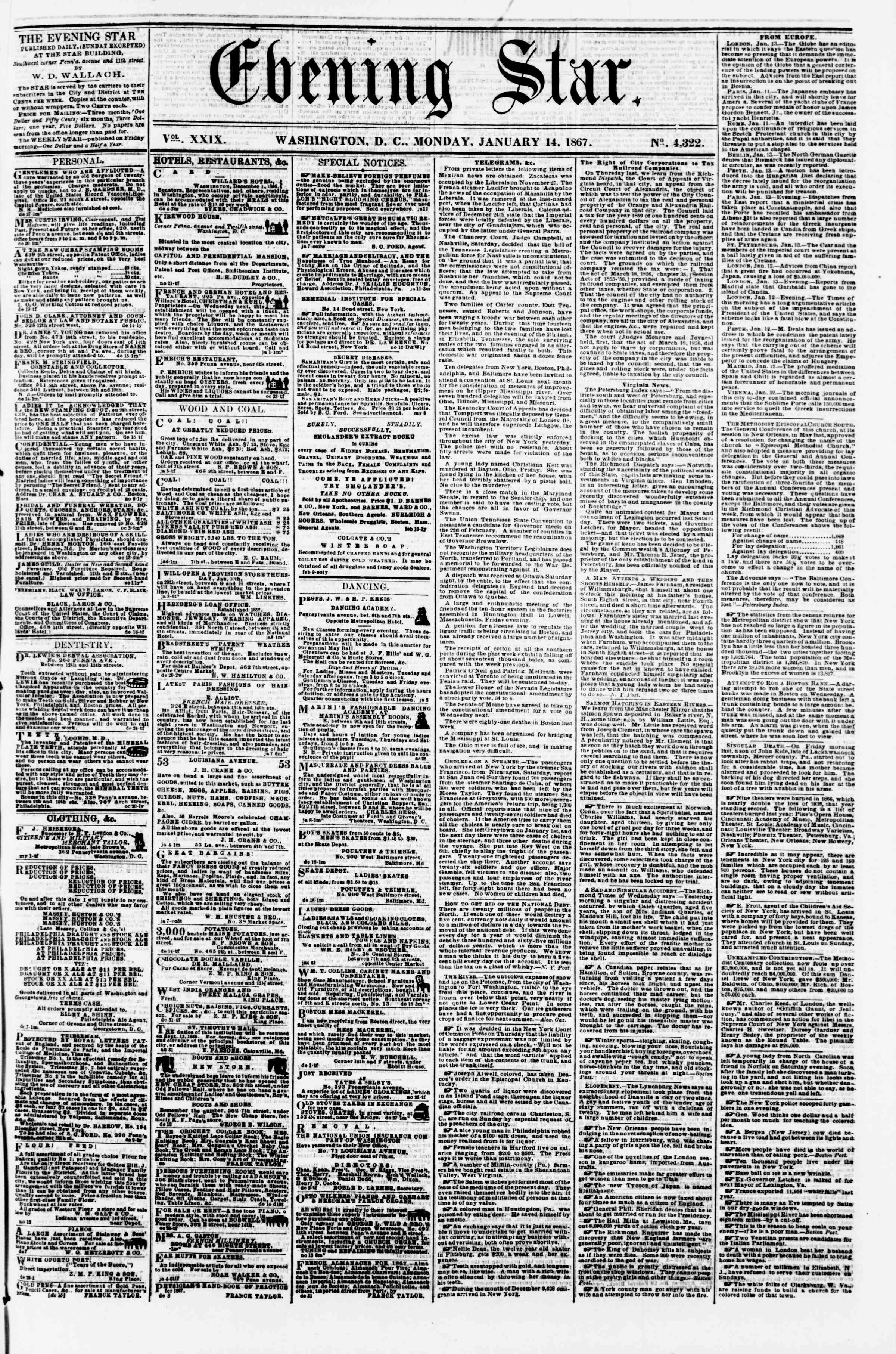 Newspaper of Evening Star dated January 14, 1867 Page 1
