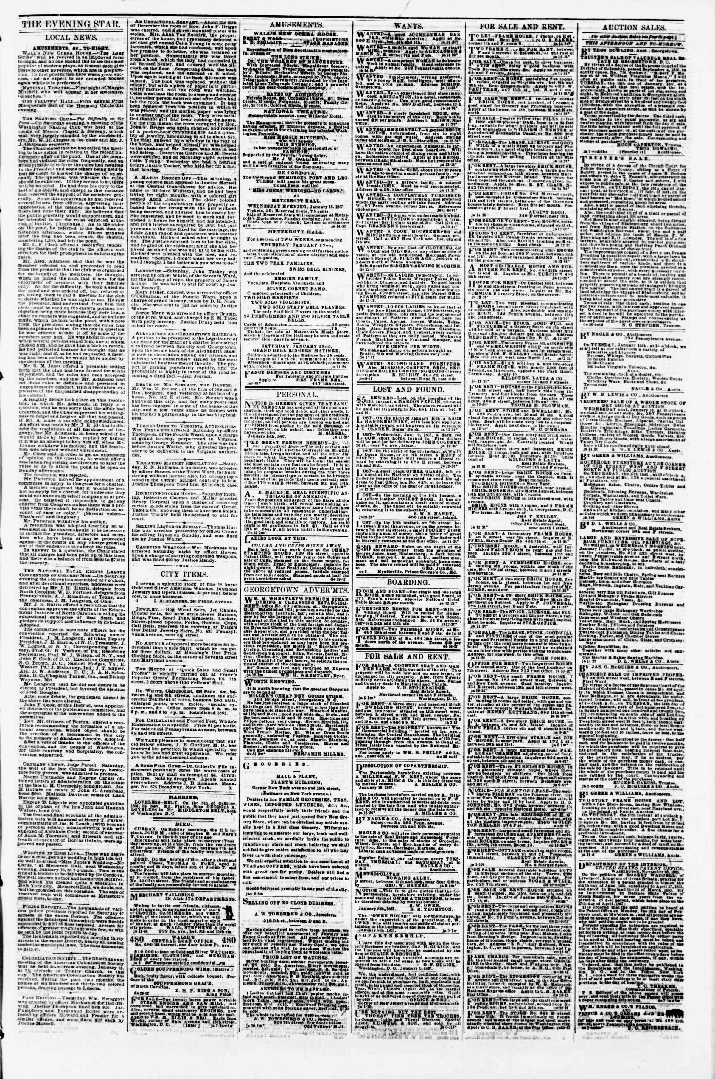 Newspaper of Evening Star dated January 14, 1867 Page 3