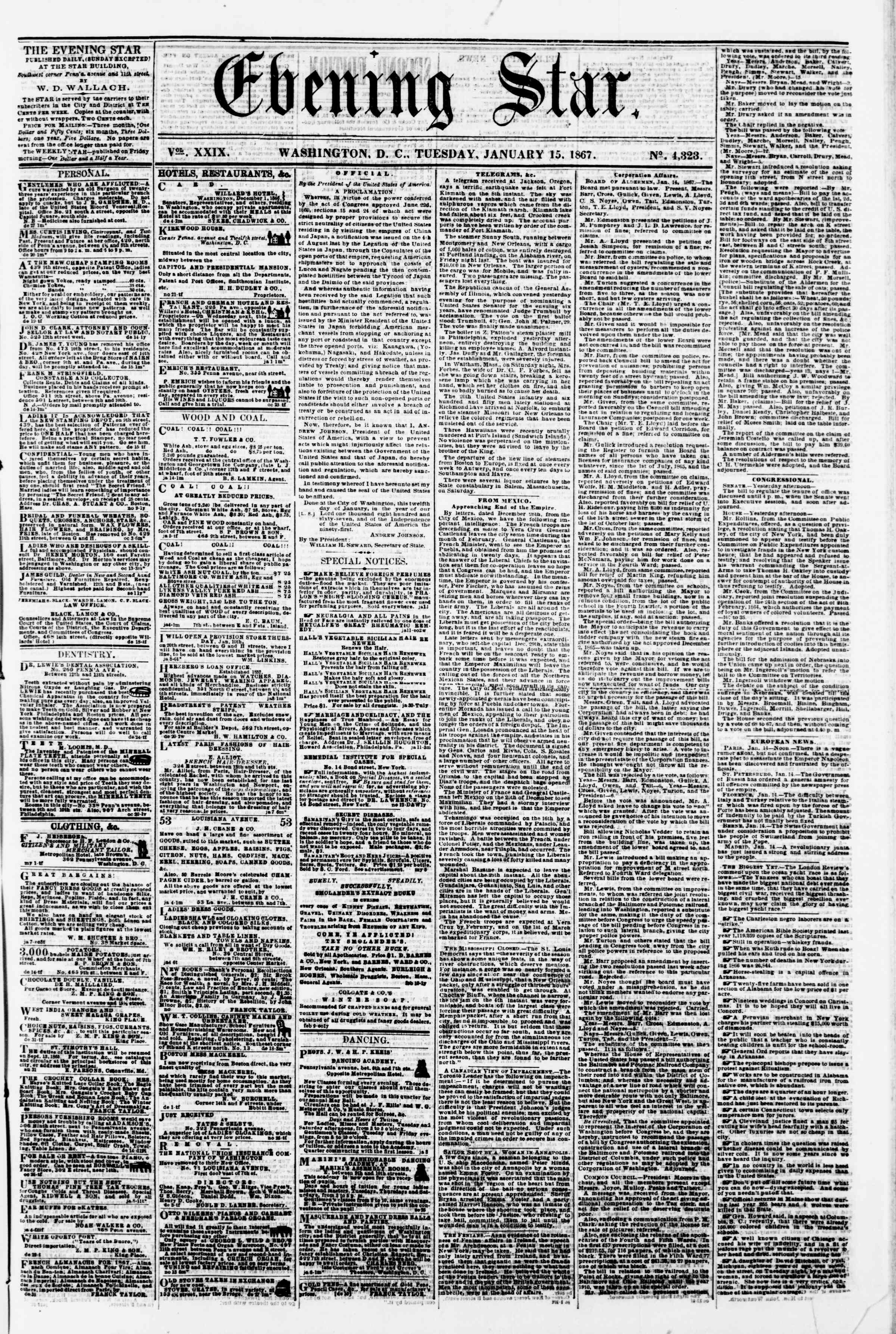 Newspaper of Evening Star dated January 15, 1867 Page 1