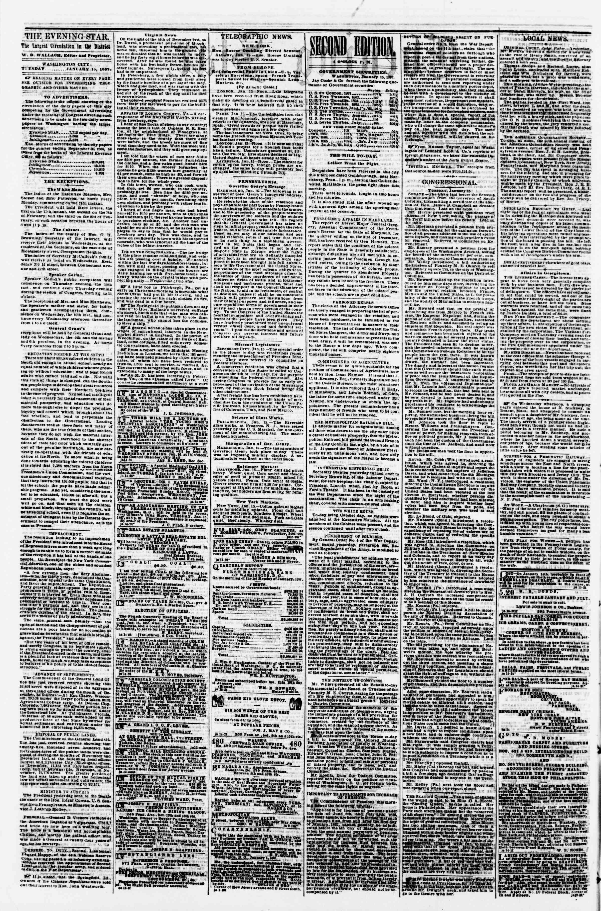 Newspaper of Evening Star dated January 15, 1867 Page 2