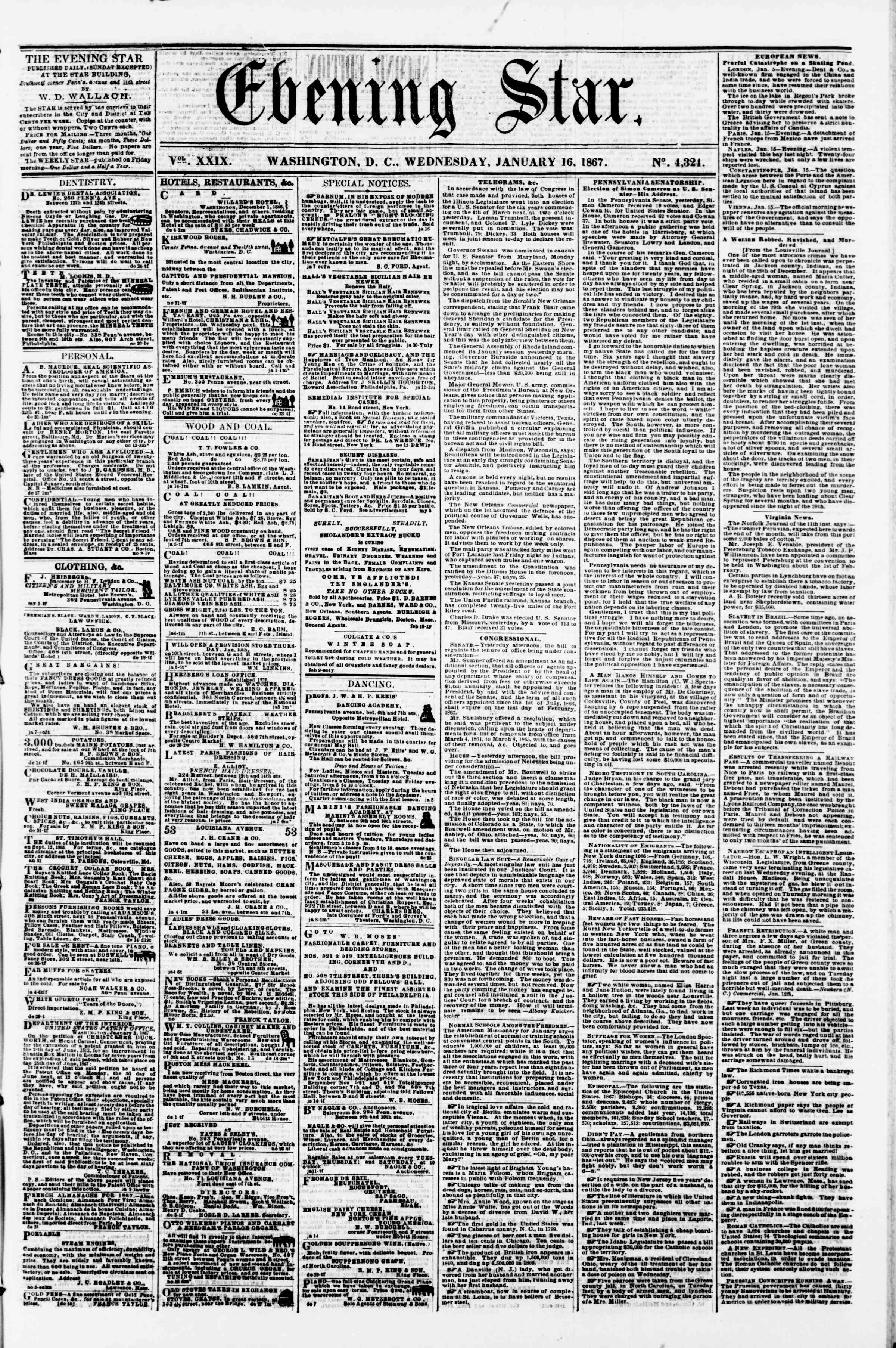 Newspaper of Evening Star dated January 16, 1867 Page 1