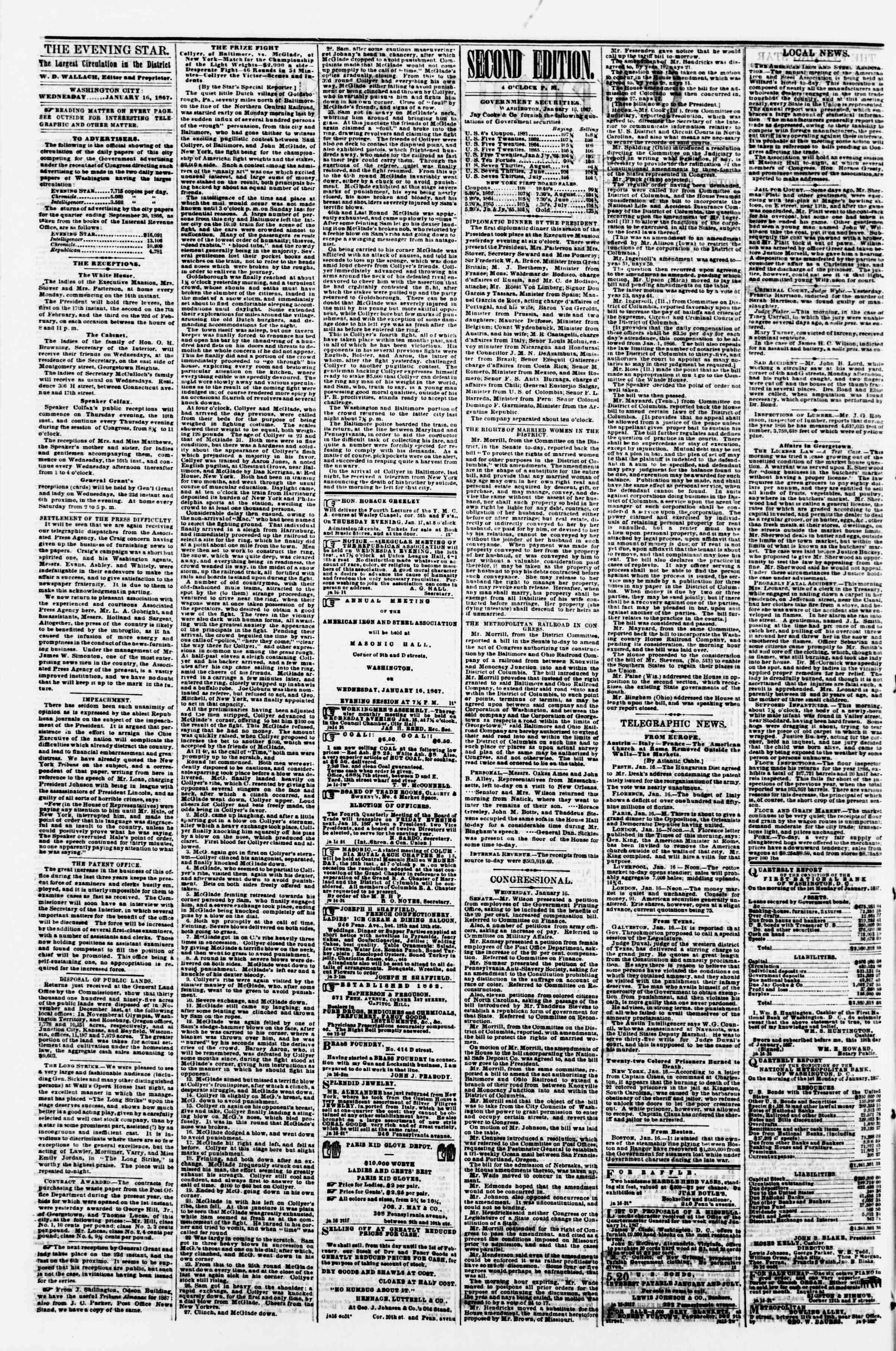Newspaper of Evening Star dated 16 Ocak 1867 Page 2