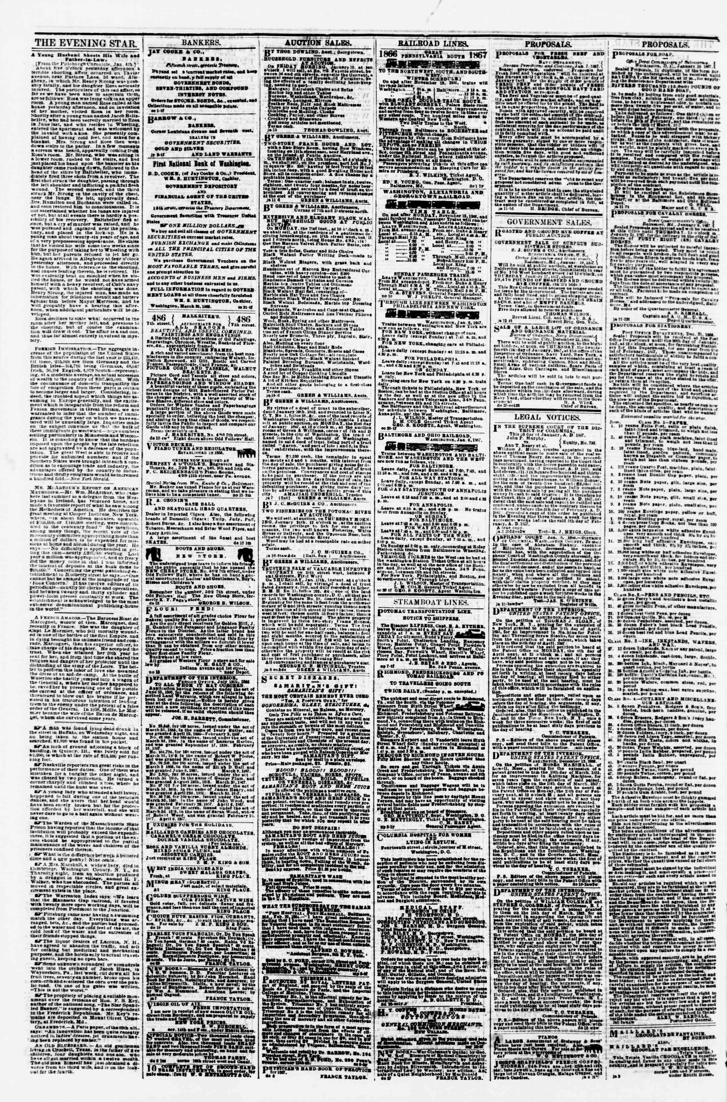 Newspaper of Evening Star dated January 16, 1867 Page 4
