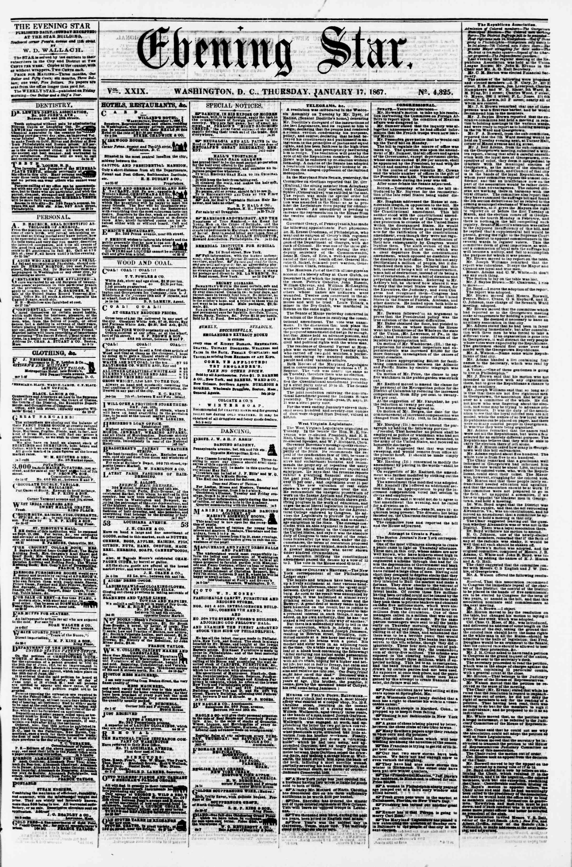 Newspaper of Evening Star dated January 17, 1867 Page 1