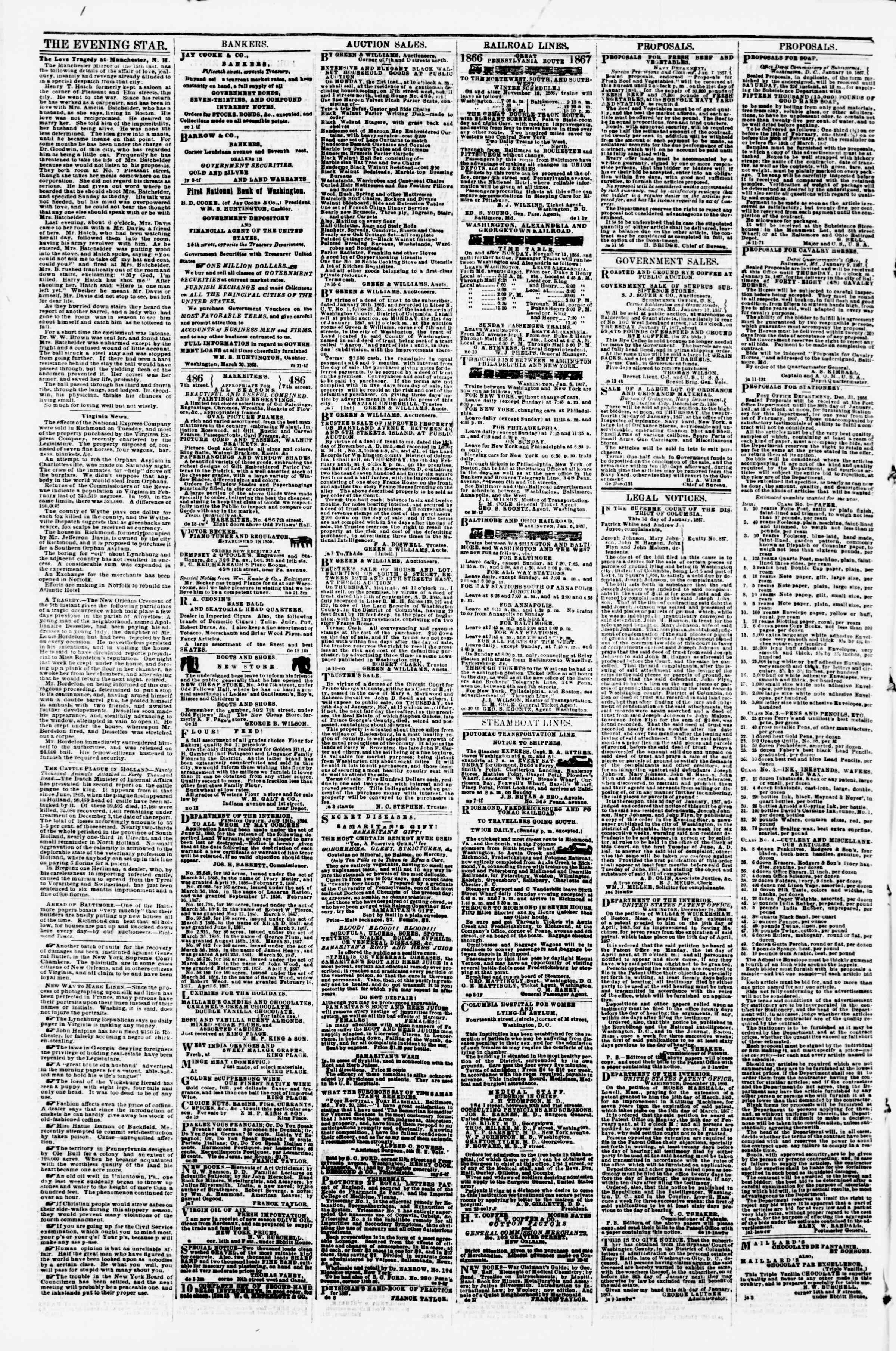 Newspaper of Evening Star dated January 17, 1867 Page 4
