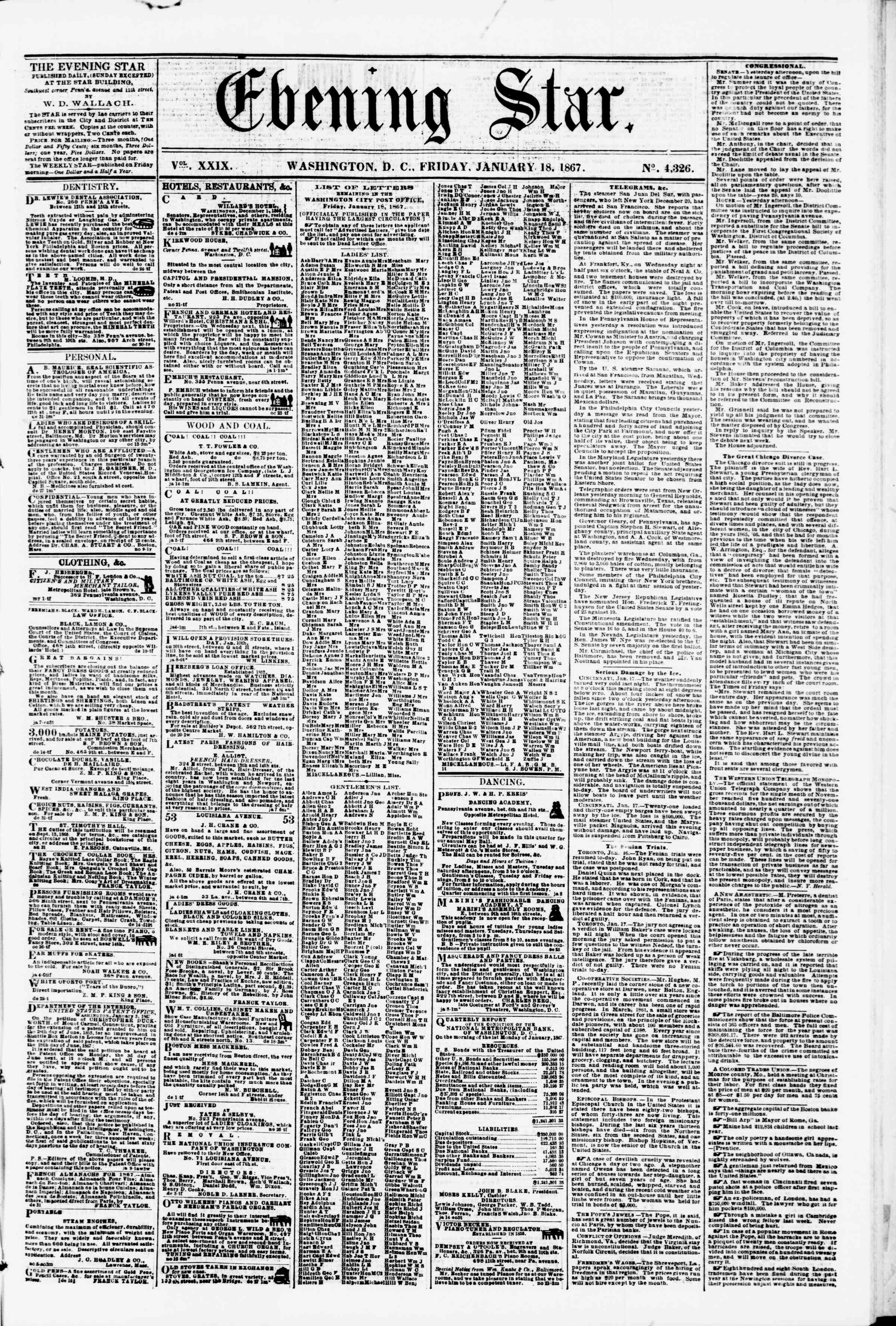 Newspaper of Evening Star dated January 18, 1867 Page 1