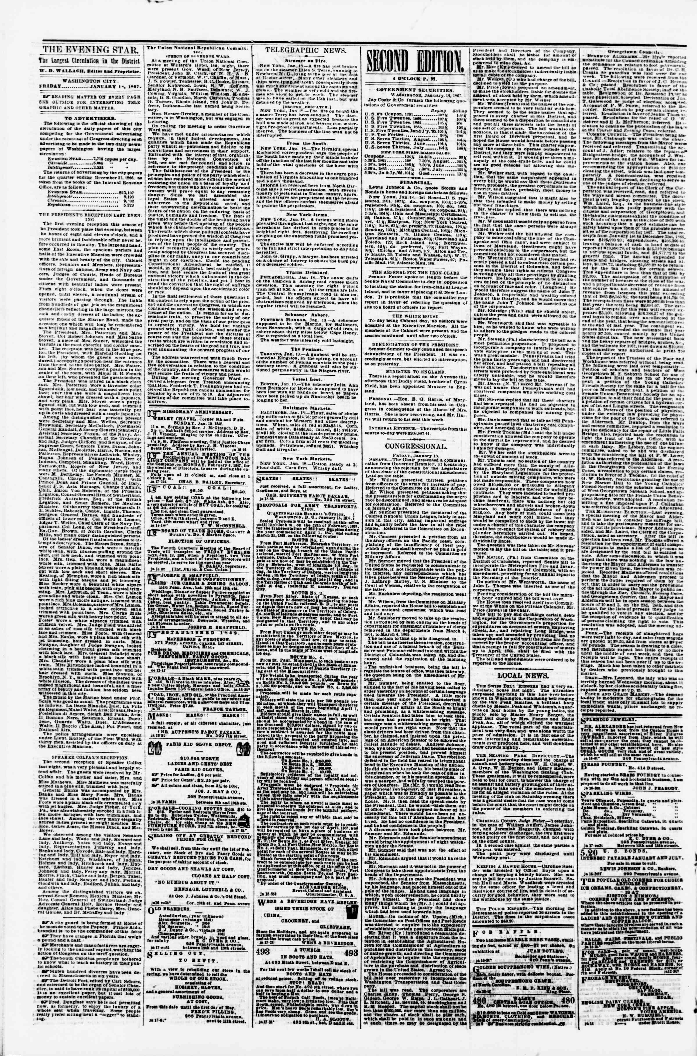 Newspaper of Evening Star dated January 18, 1867 Page 2