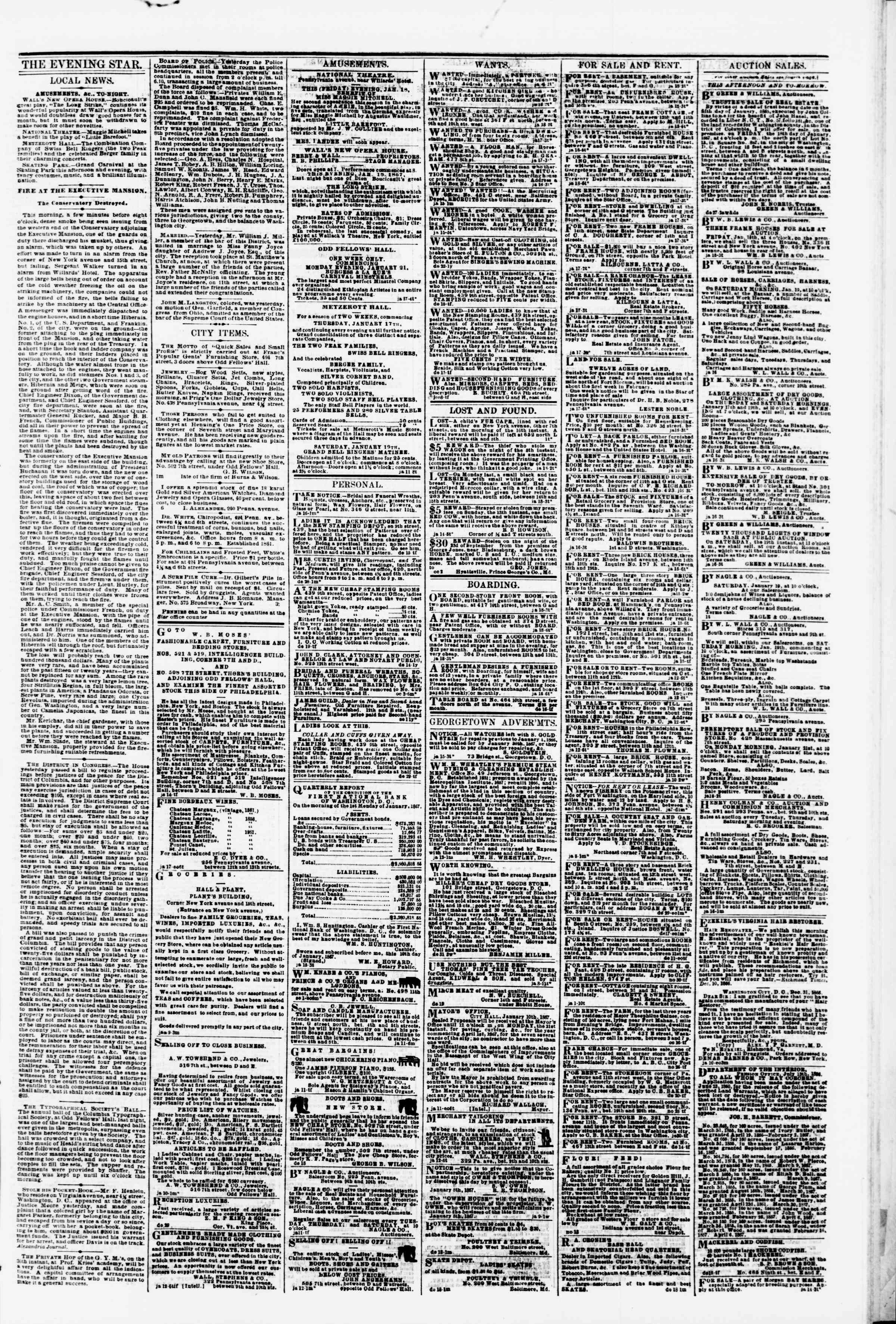 Newspaper of Evening Star dated January 18, 1867 Page 3