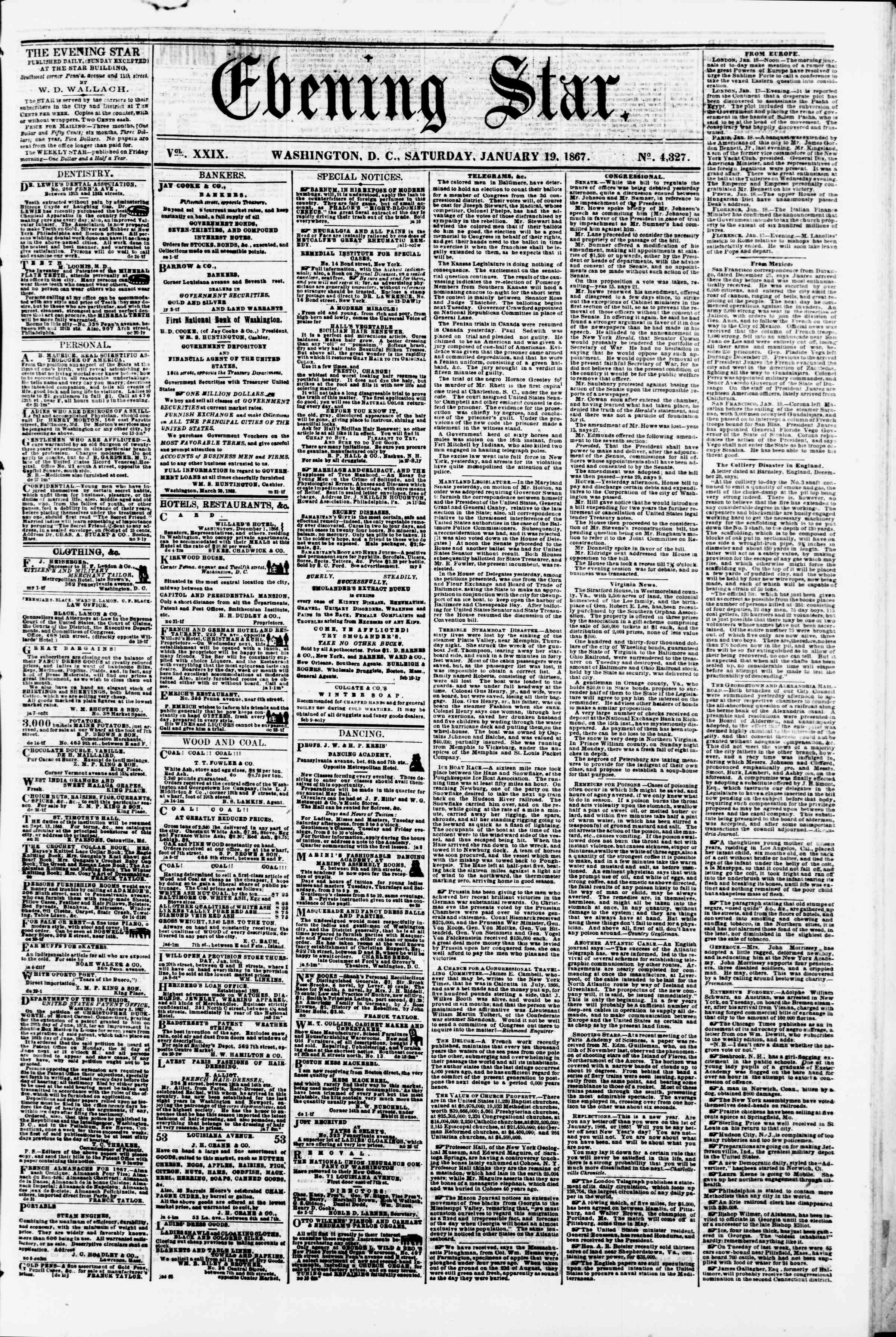 Newspaper of Evening Star dated January 19, 1867 Page 1