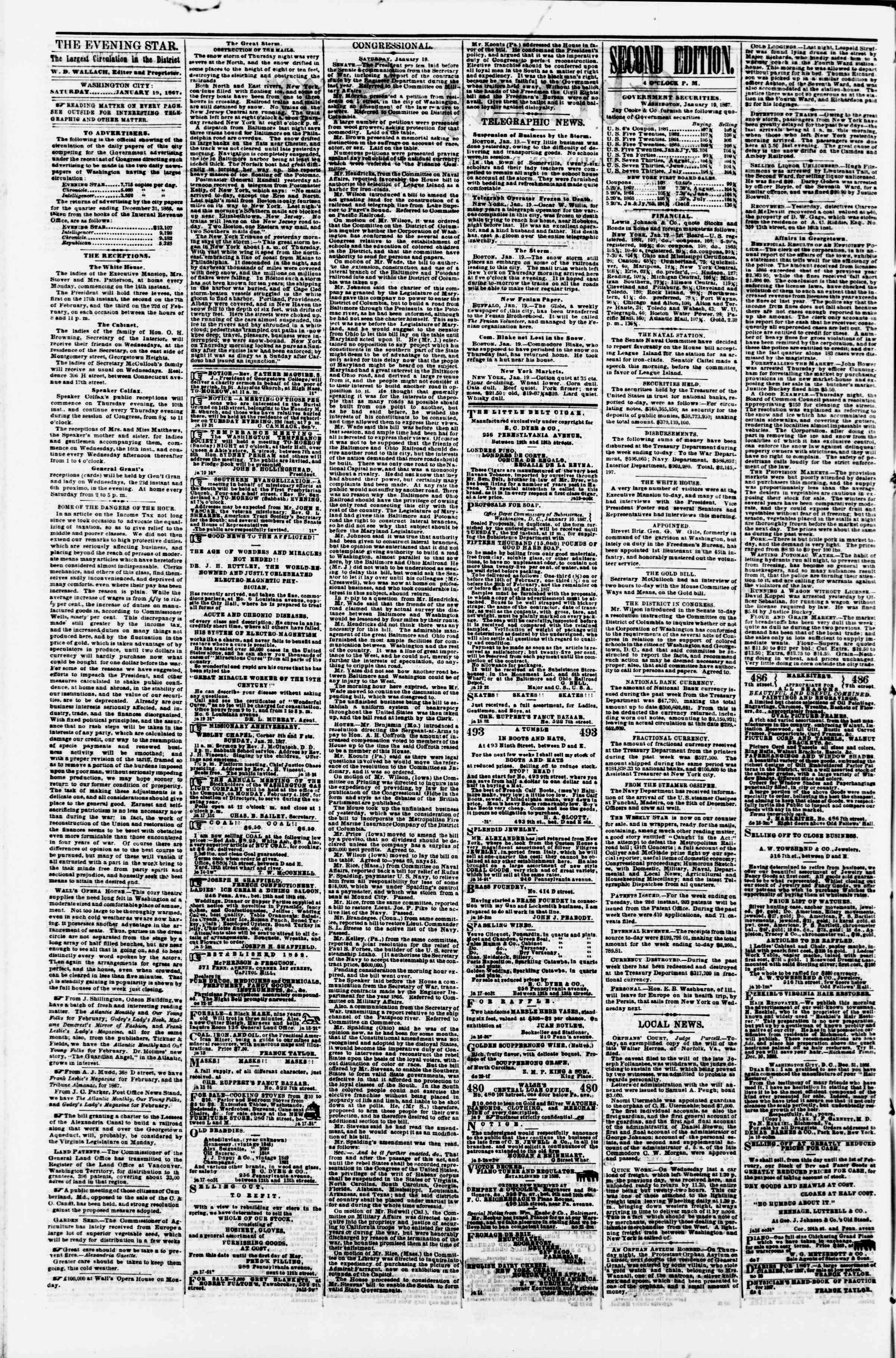 Newspaper of Evening Star dated January 19, 1867 Page 2