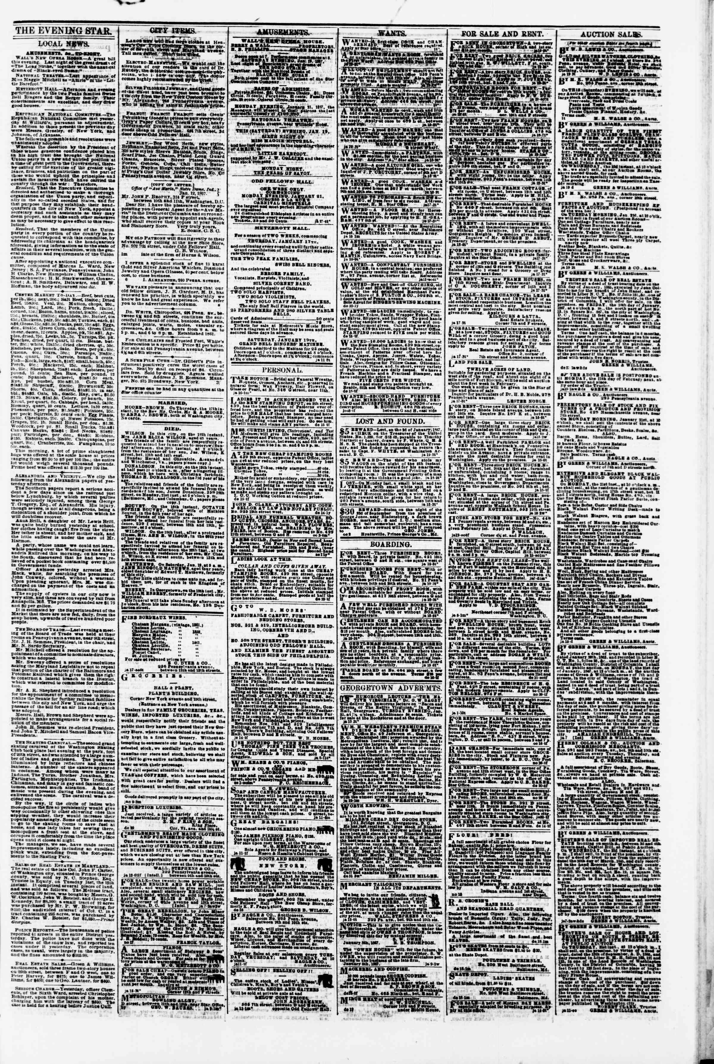 Newspaper of Evening Star dated January 19, 1867 Page 3