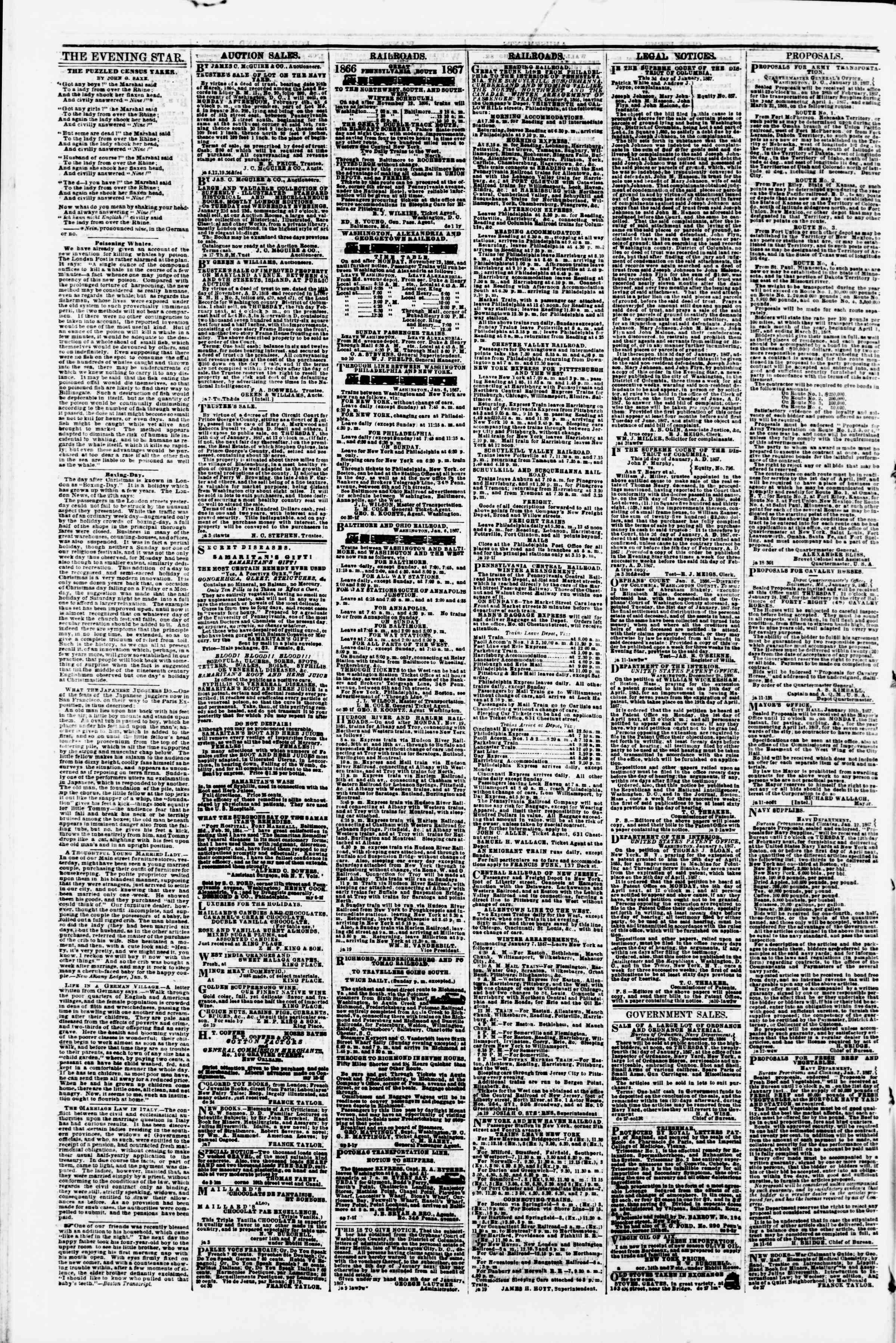Newspaper of Evening Star dated January 19, 1867 Page 4