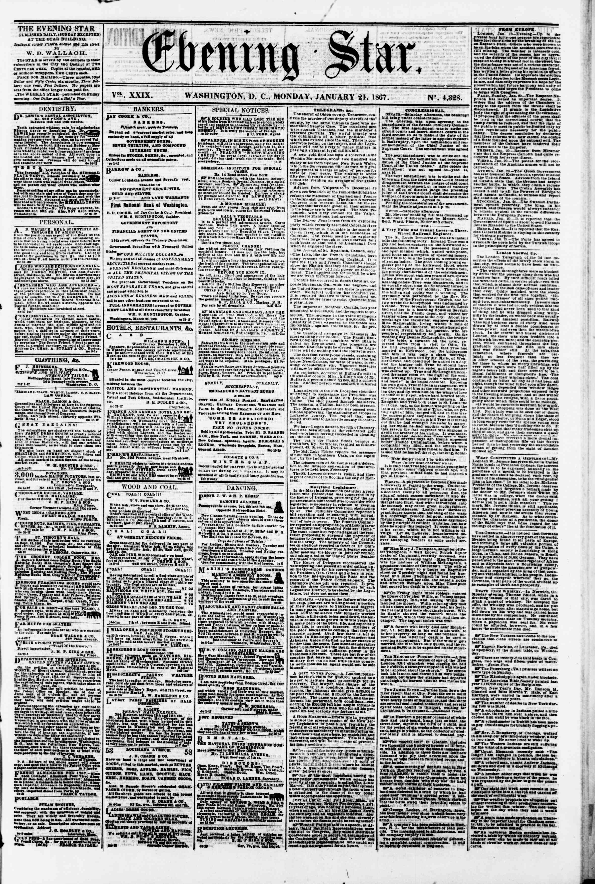 Newspaper of Evening Star dated January 21, 1867 Page 1