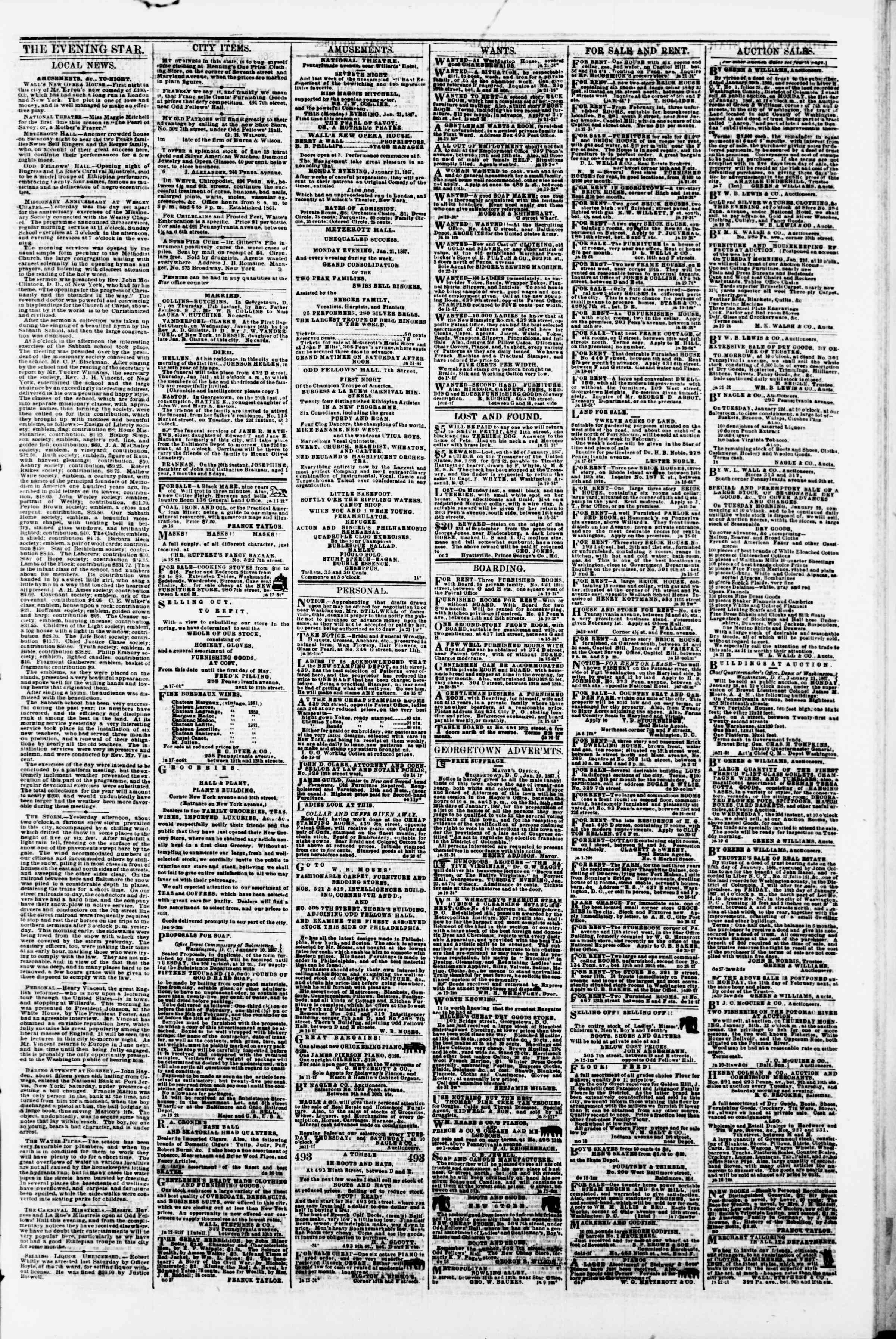 Newspaper of Evening Star dated January 21, 1867 Page 3