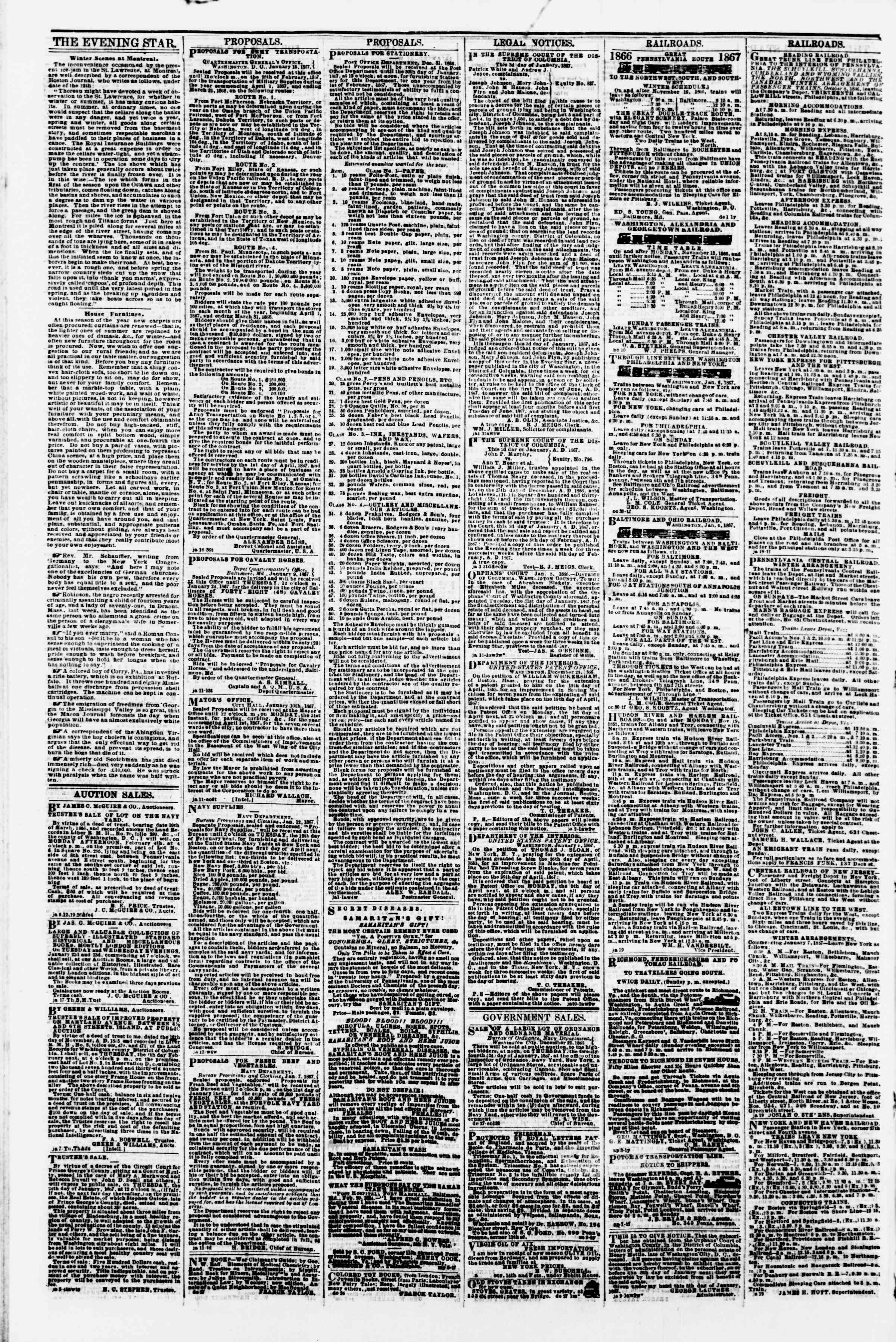 Newspaper of Evening Star dated January 21, 1867 Page 4