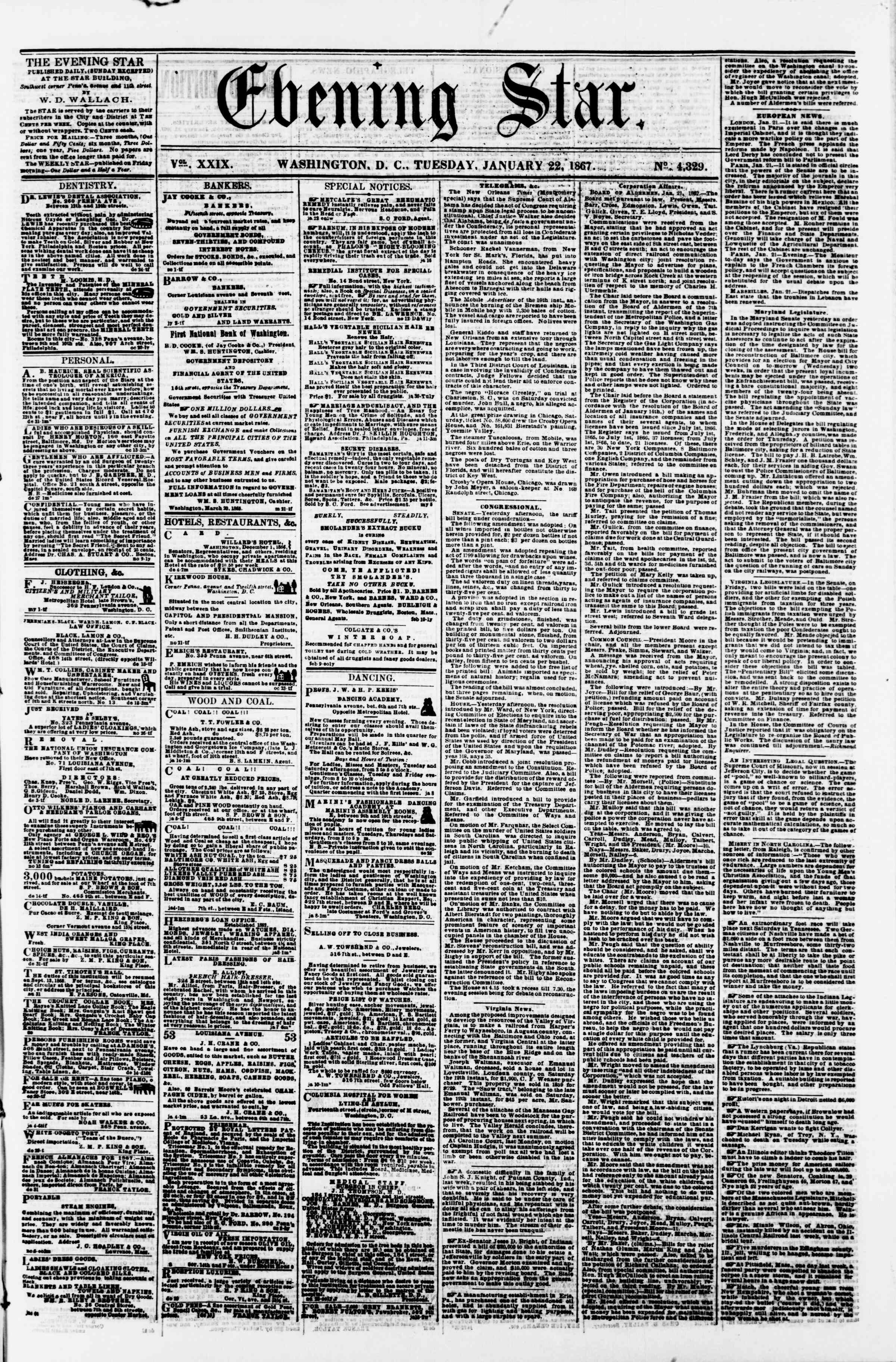 Newspaper of Evening Star dated January 22, 1867 Page 1