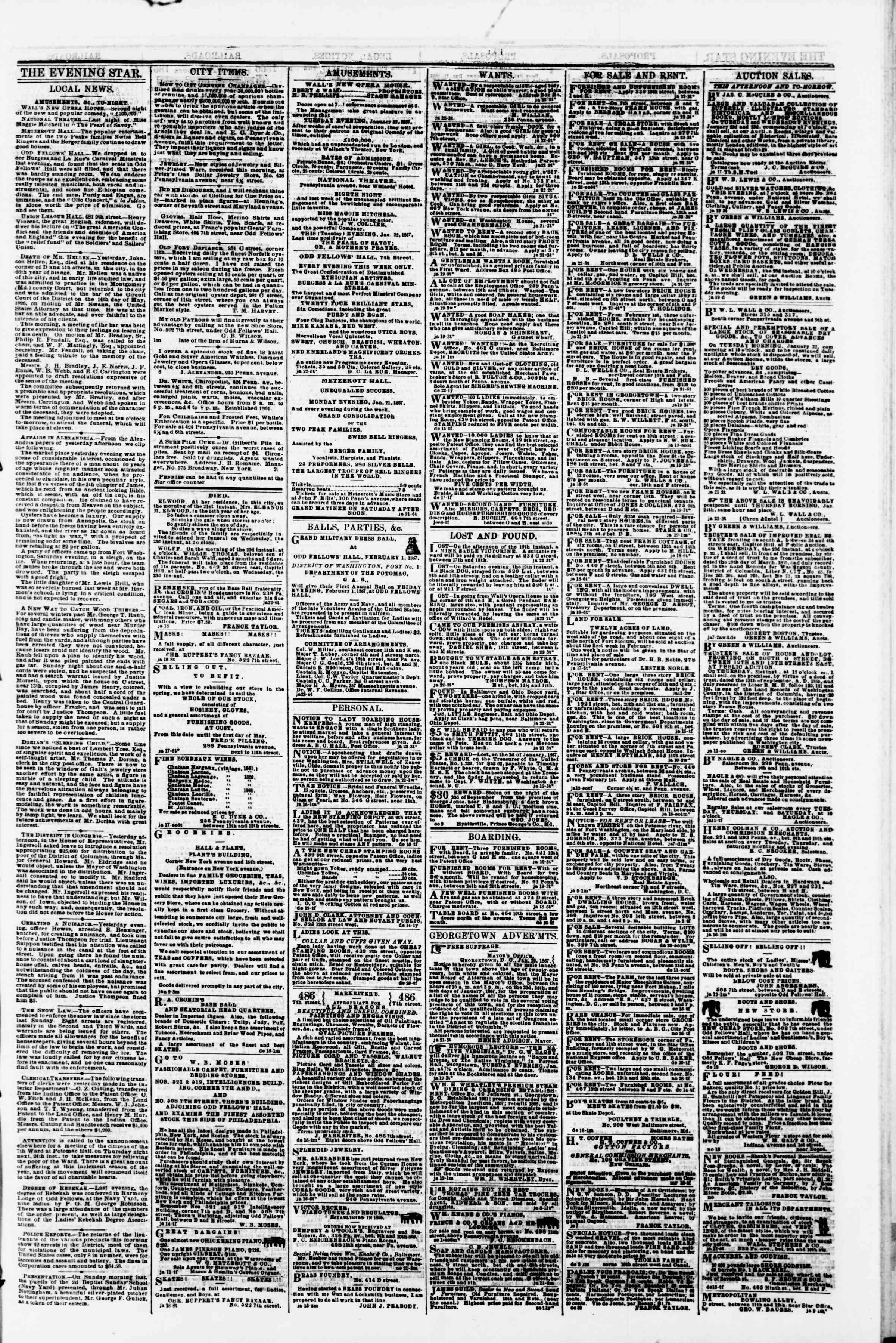 Newspaper of Evening Star dated January 22, 1867 Page 3