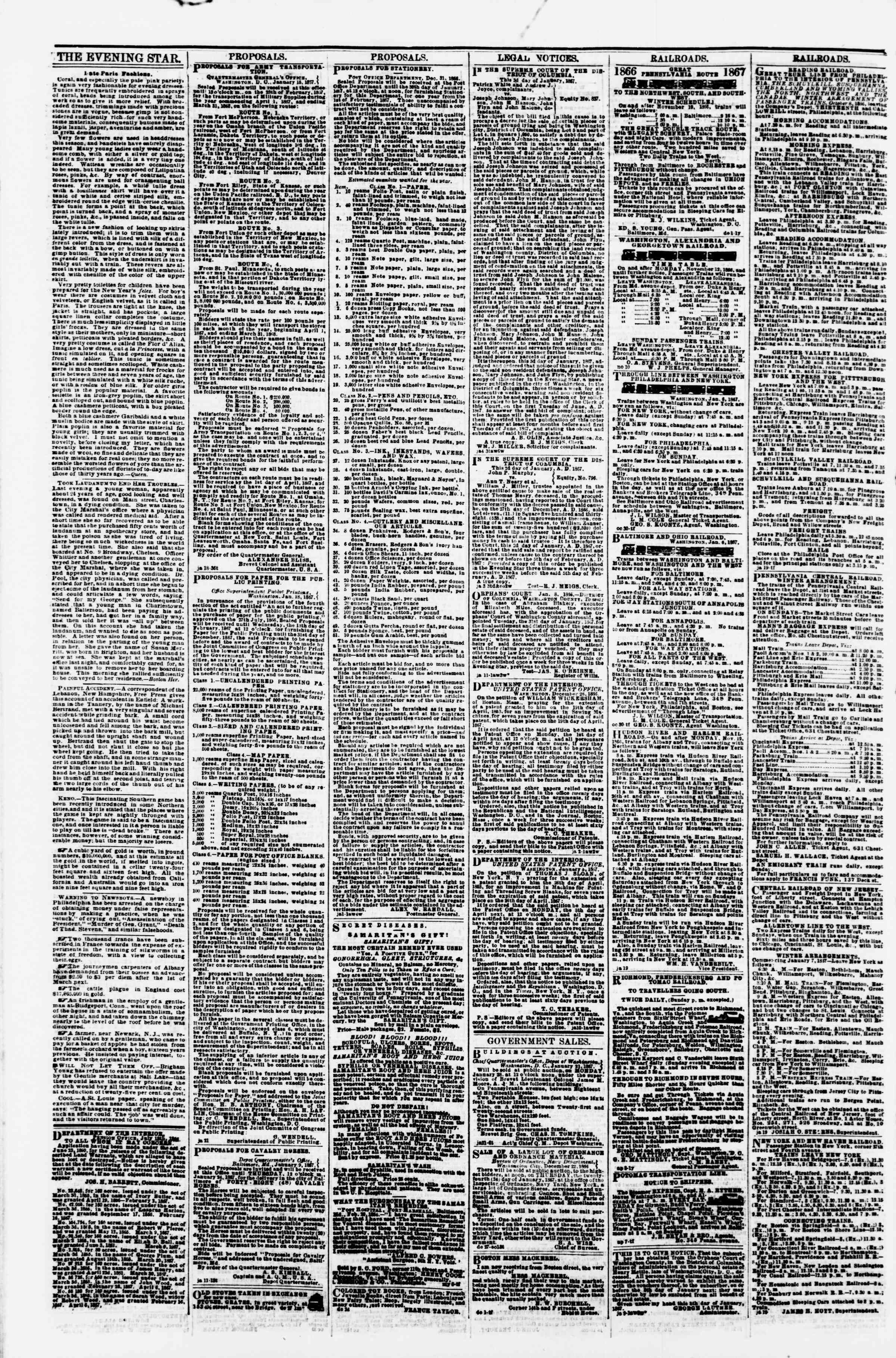 Newspaper of Evening Star dated January 22, 1867 Page 4